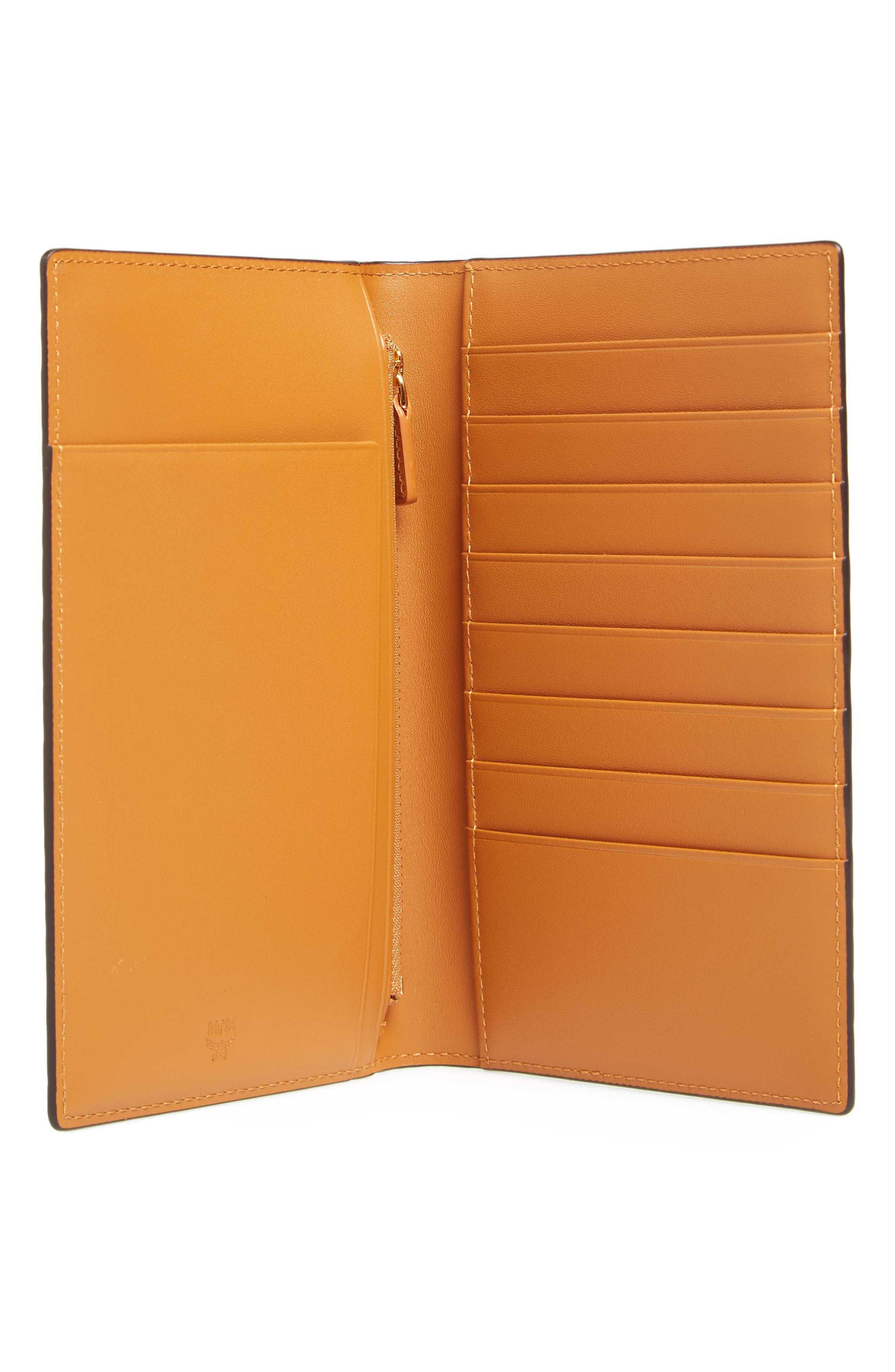 Visetos Coated Canvas Passport Case,                             Alternate thumbnail 4, color,                             Cognac