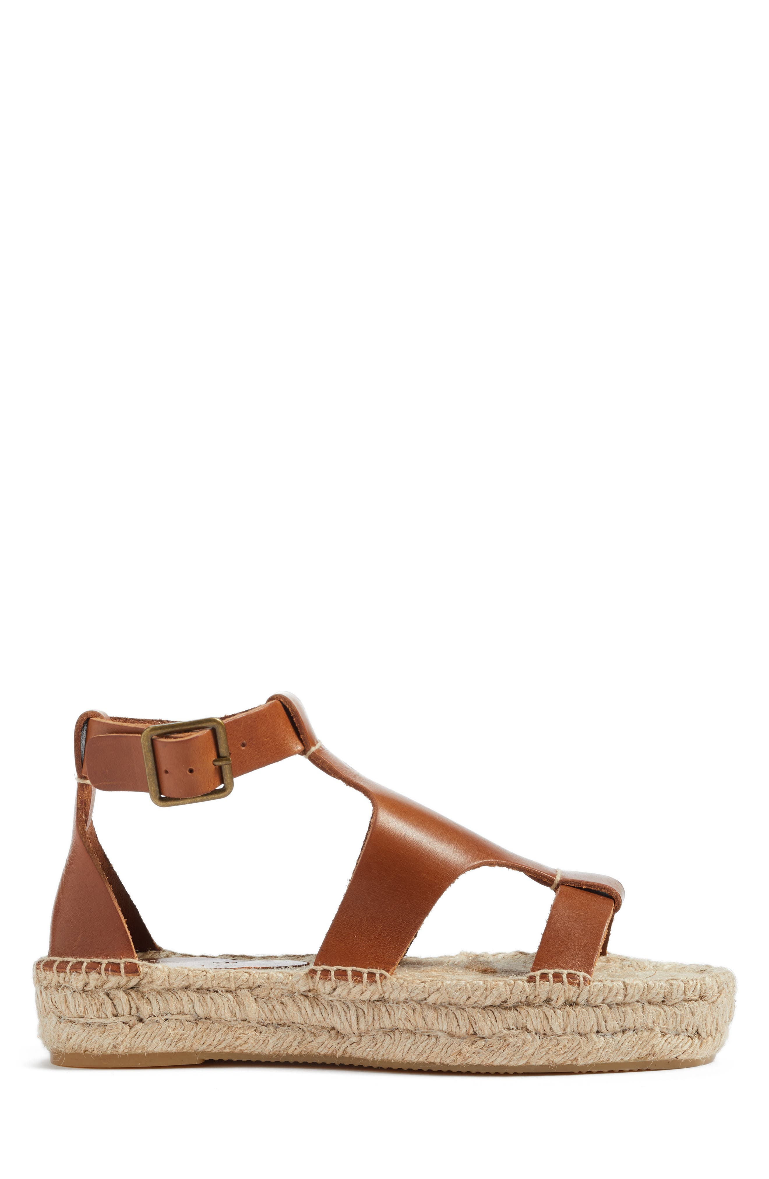 Strappy Espadrille Sandal,                             Alternate thumbnail 3, color,                             Walnut Leather
