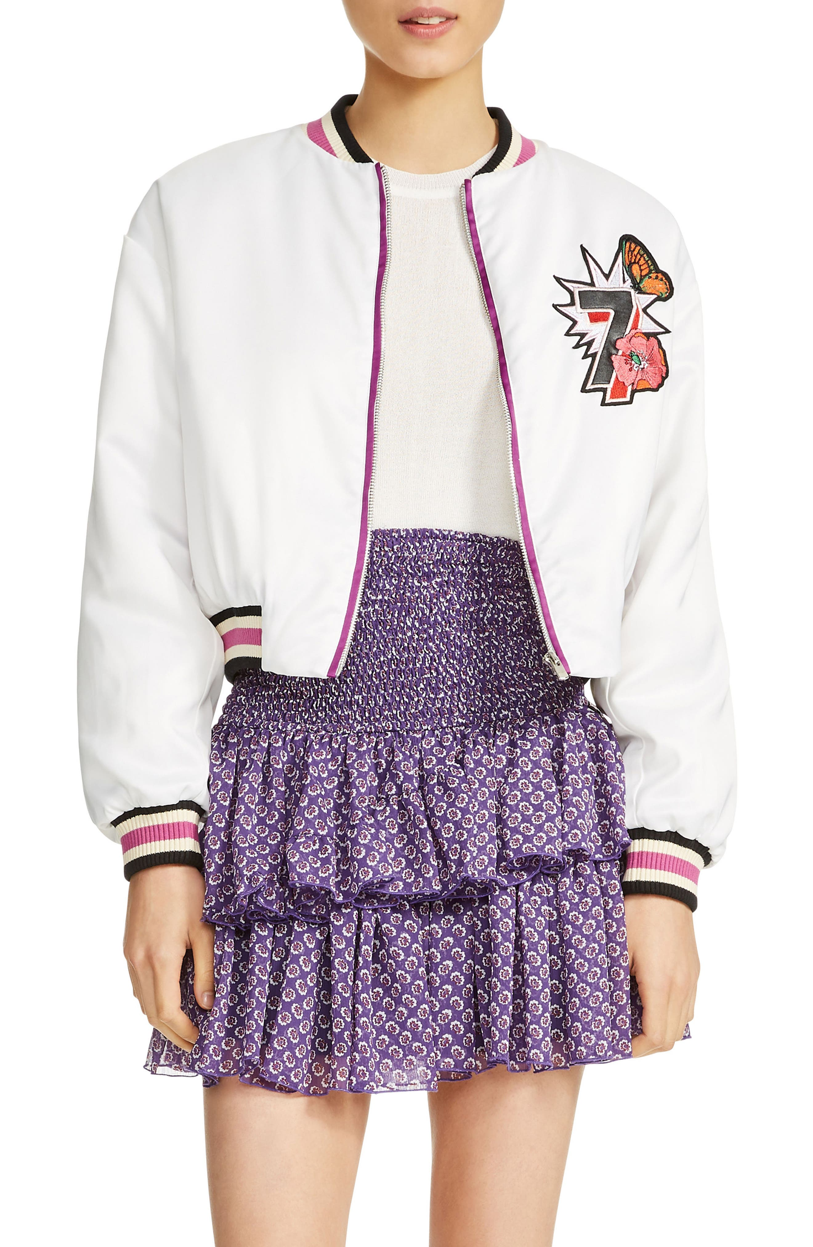 Bloomy Varsity Jacket,                             Main thumbnail 1, color,                             White