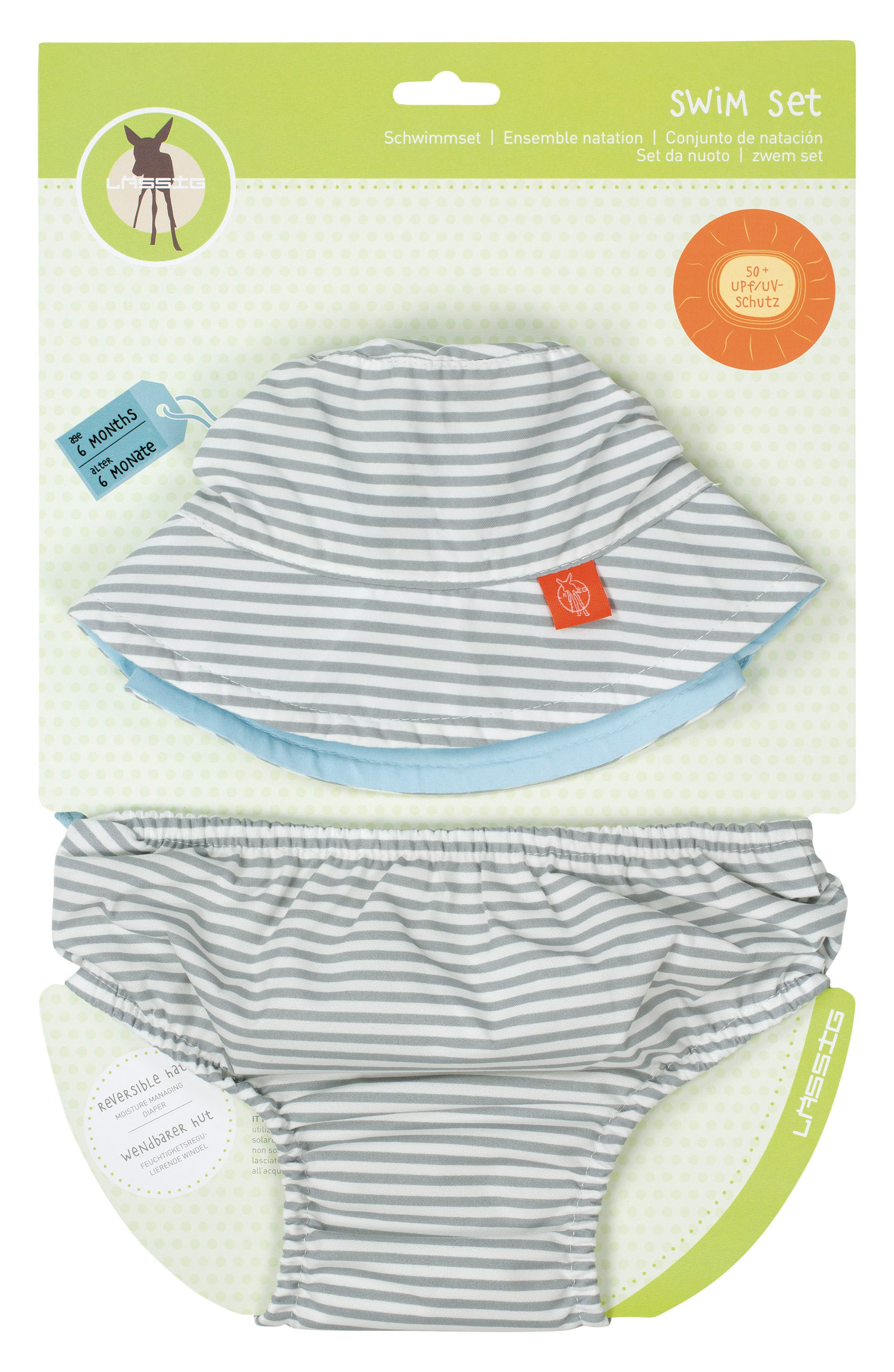 Lässig Stripe Bucket Hat & Swim Diaper Cover Set (Baby Boys)