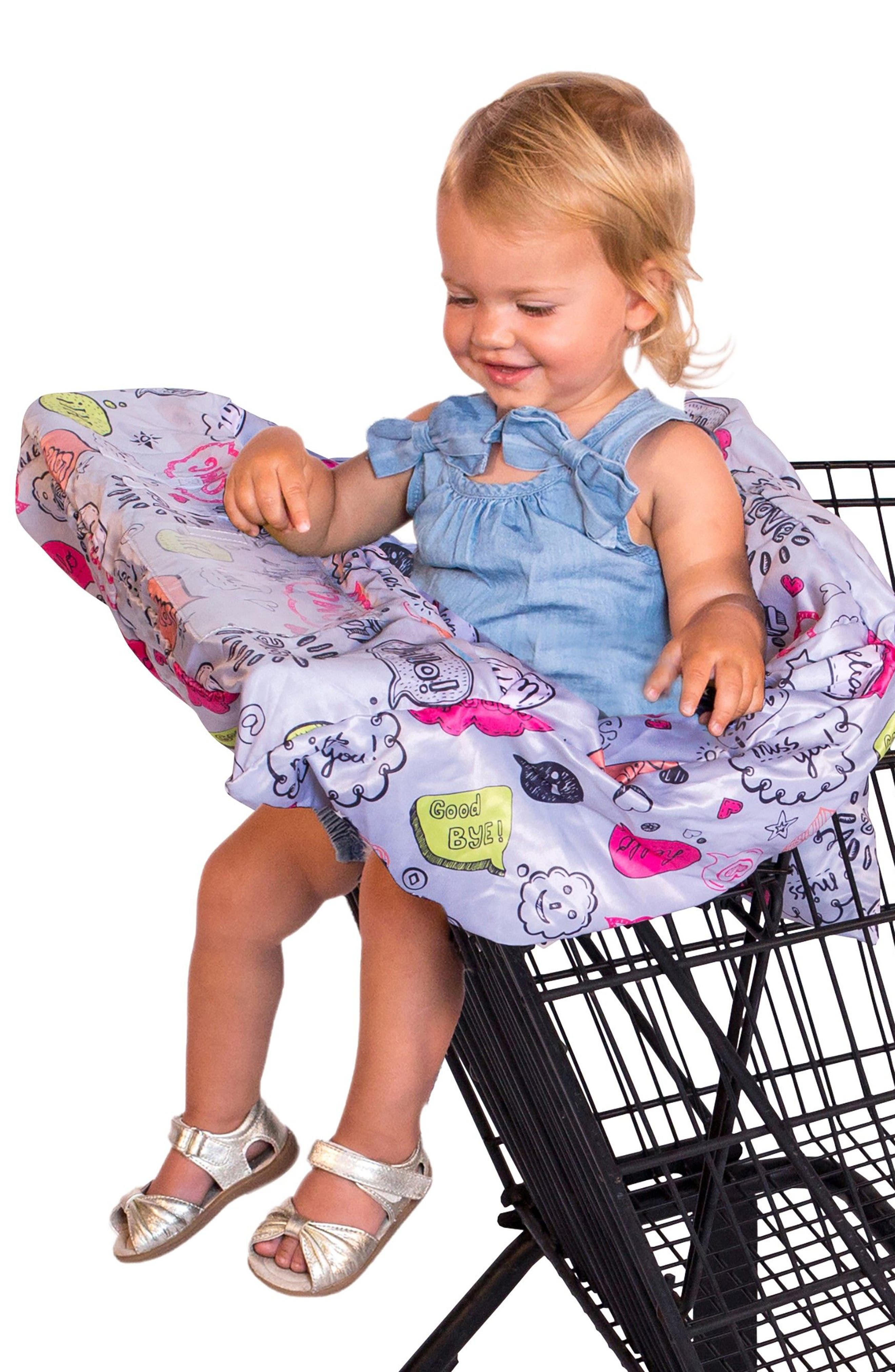 Highchair/Shopping Cart Cover,                             Alternate thumbnail 3, color,                             Grey Text Bubble