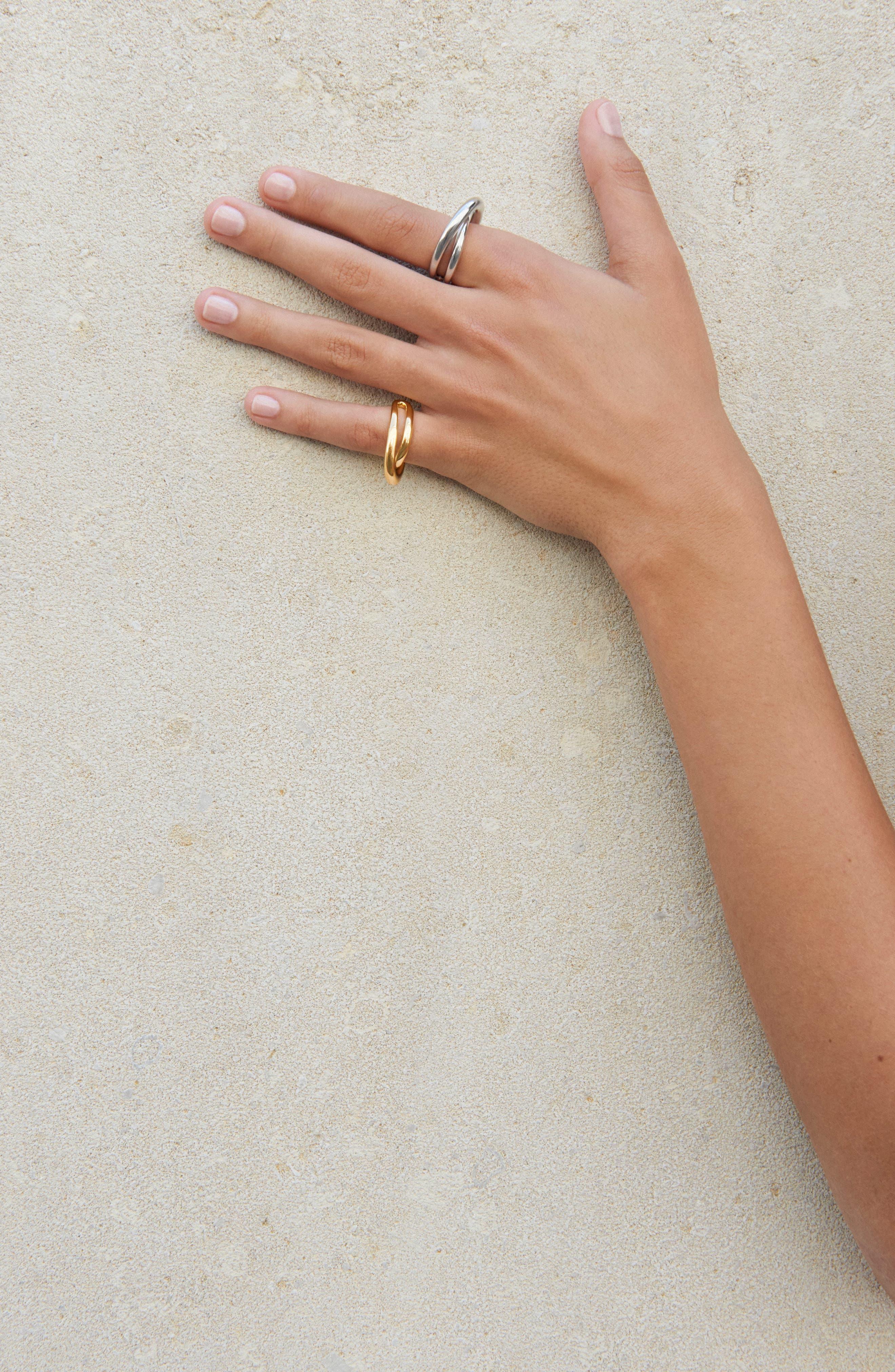 Index Initial Vermeil Open Ring,                             Alternate thumbnail 2, color,                             Yellow Vermeil