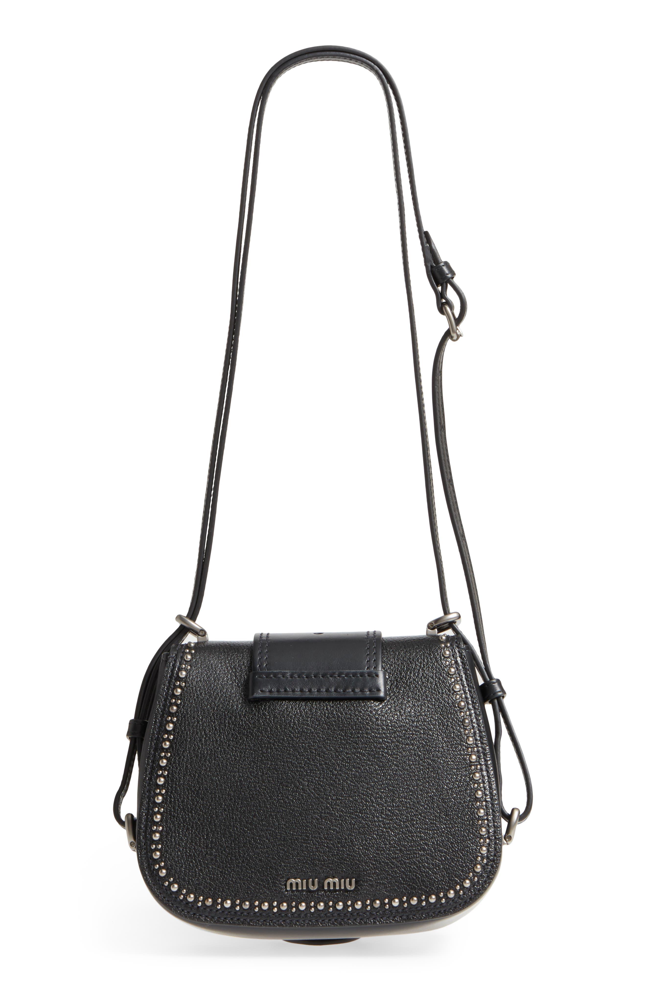 Dahlia Leather Shoulder Bag,                             Alternate thumbnail 3, color,                             Nero