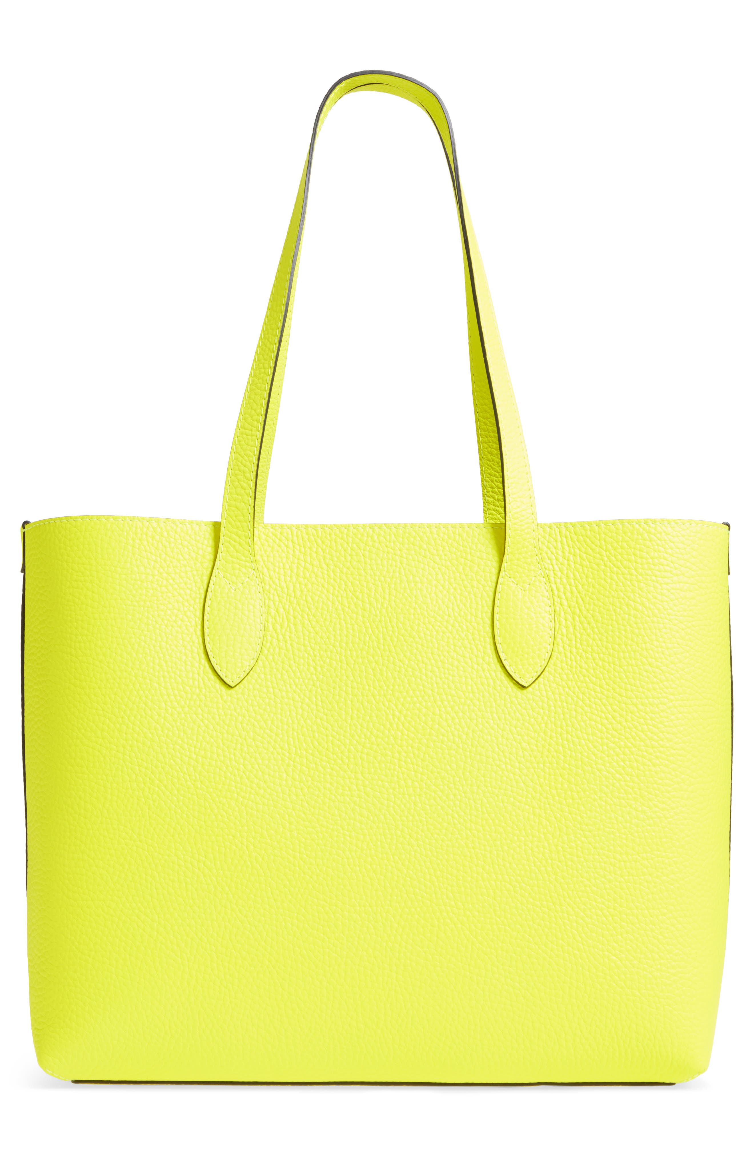 Large Remington Logo Leather Tote,                             Alternate thumbnail 3, color,                             Neon Yellow