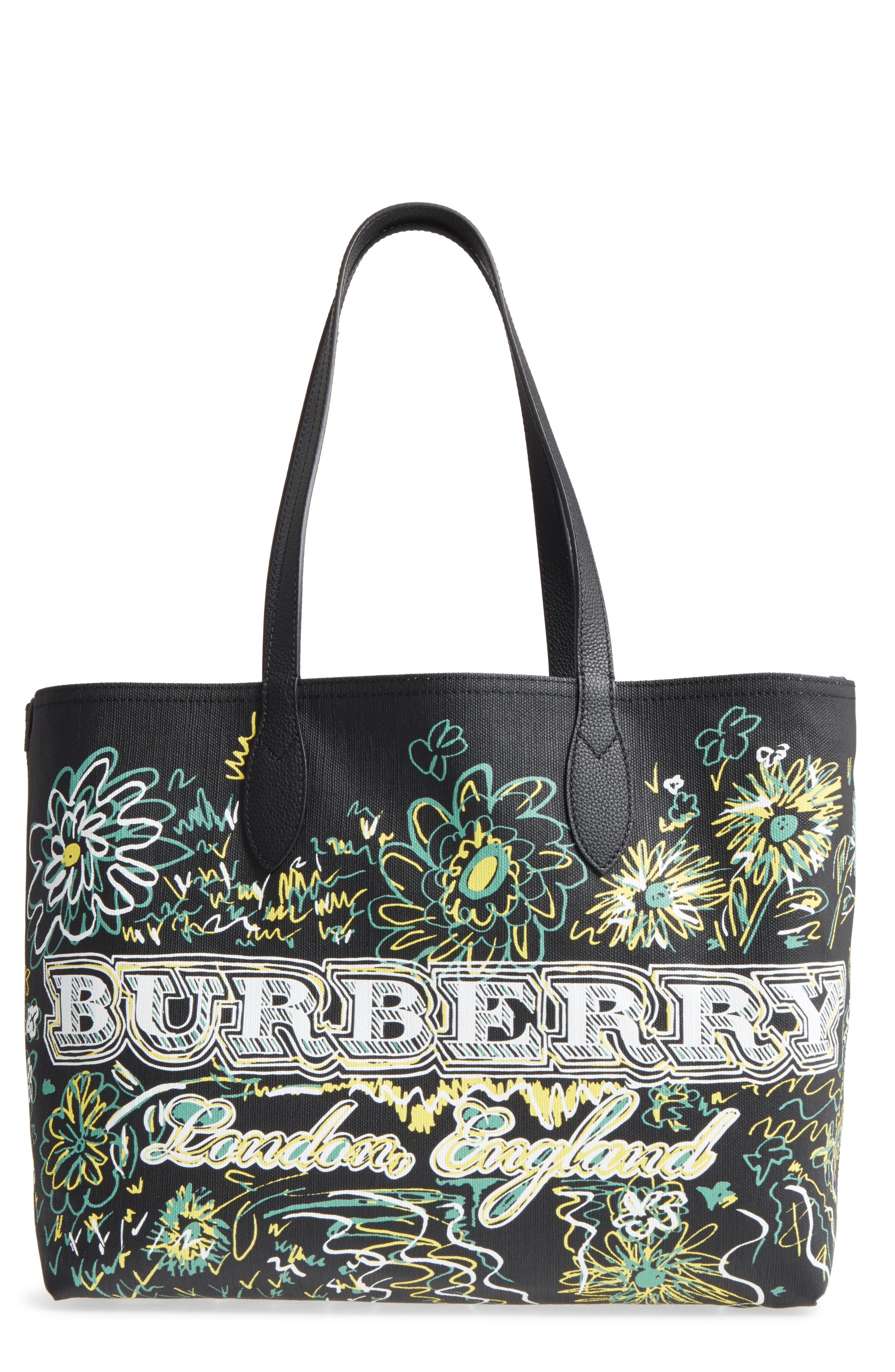 Main Image - Burberry Doodletote/Check Reversible Canvas Tote