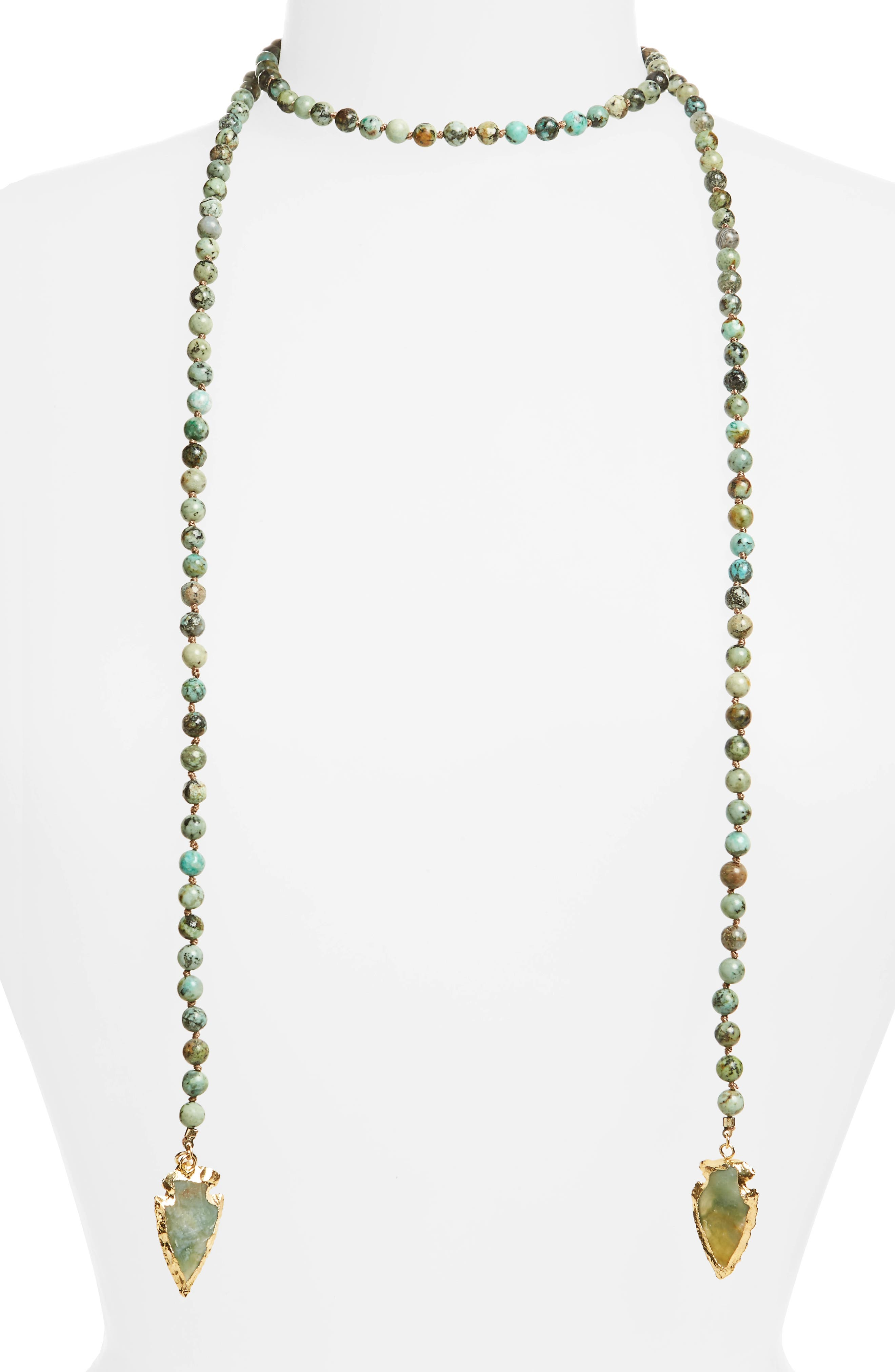 Main Image - Love's Affect Knotted Semiprecious Wrap Necklace