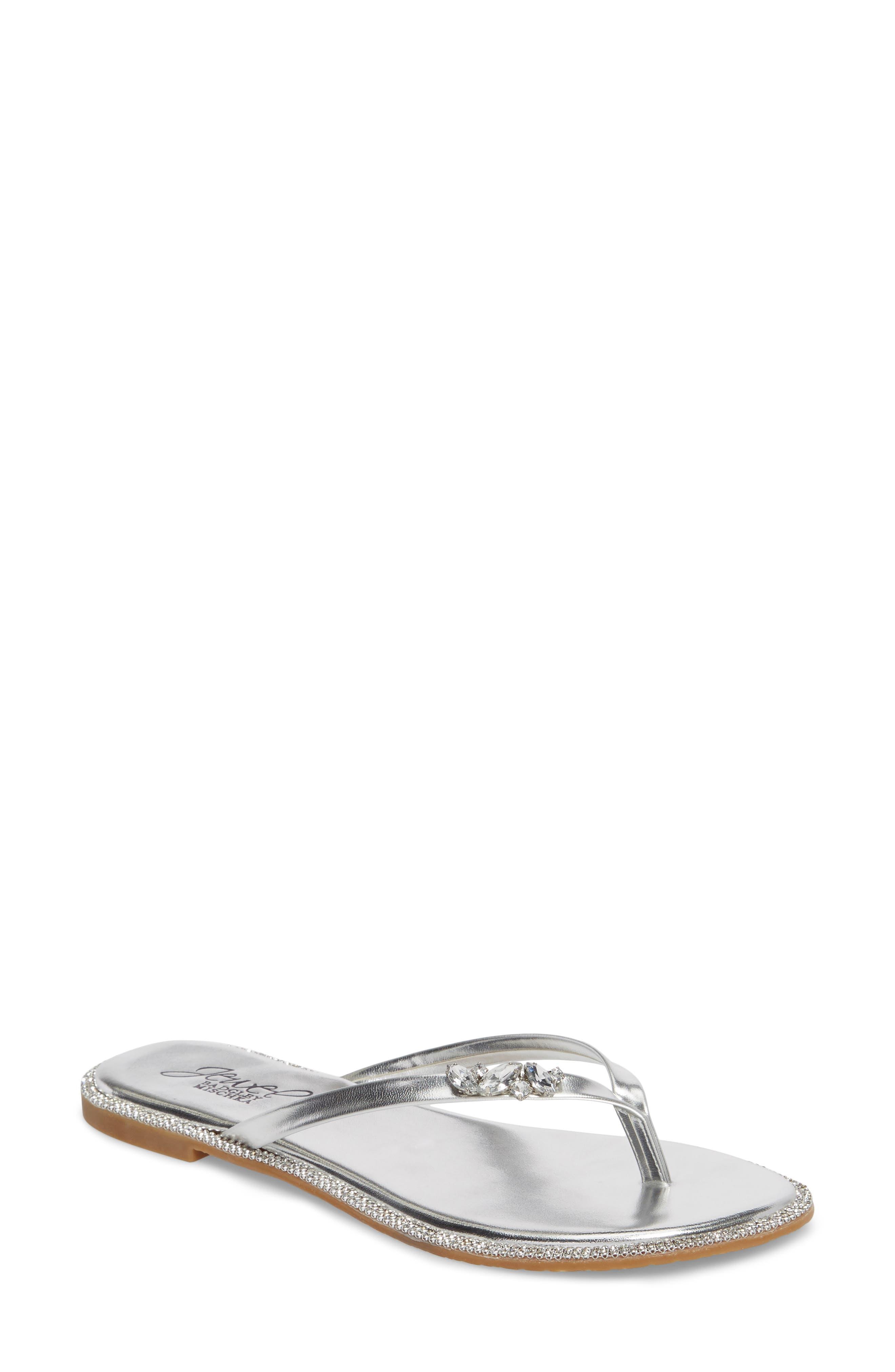 Thalia Crystal Embellished Flip Flop,                         Main,                         color, Silver Leather