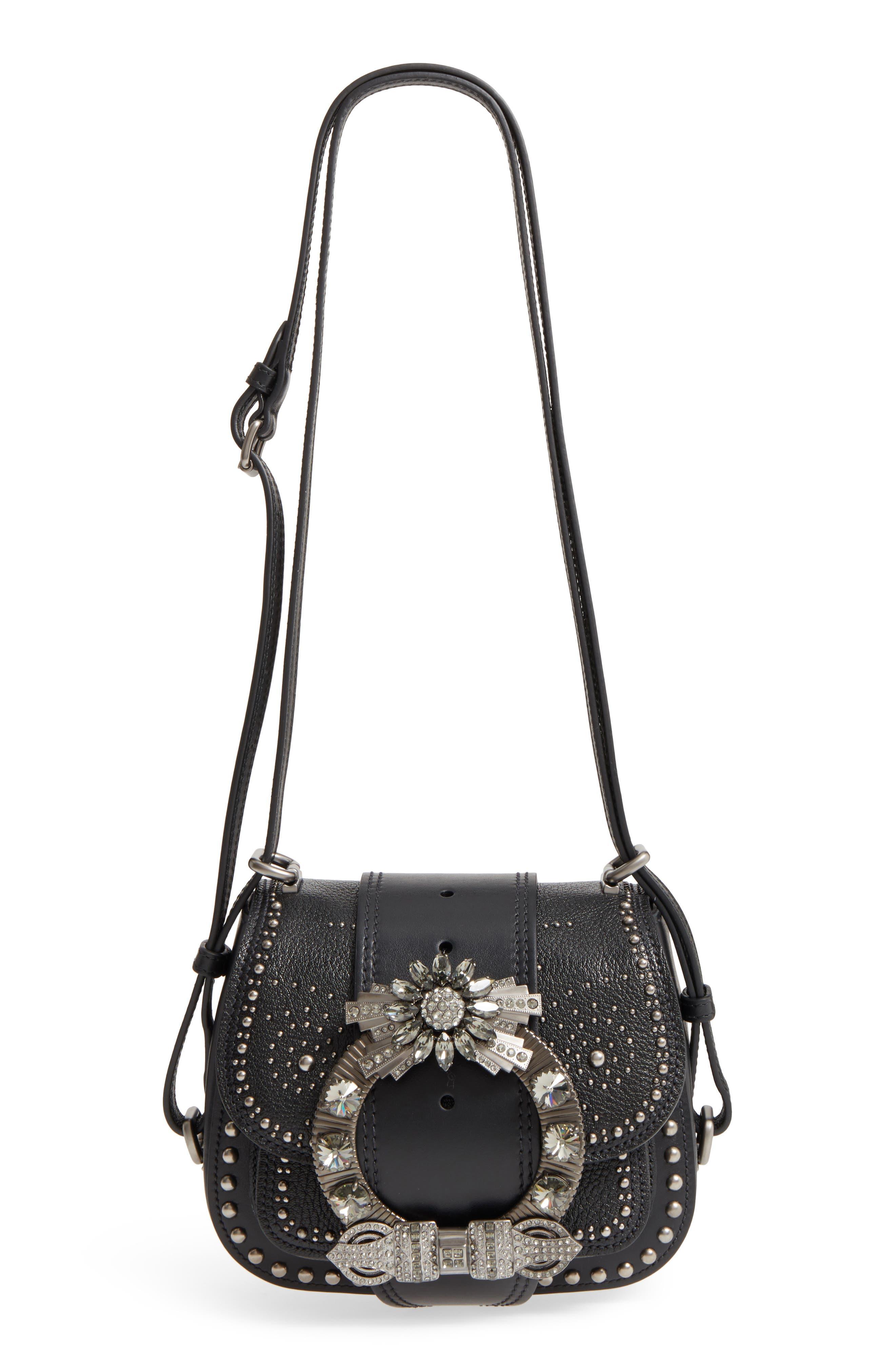 Dahlia Leather Shoulder Bag,                             Main thumbnail 1, color,                             Nero