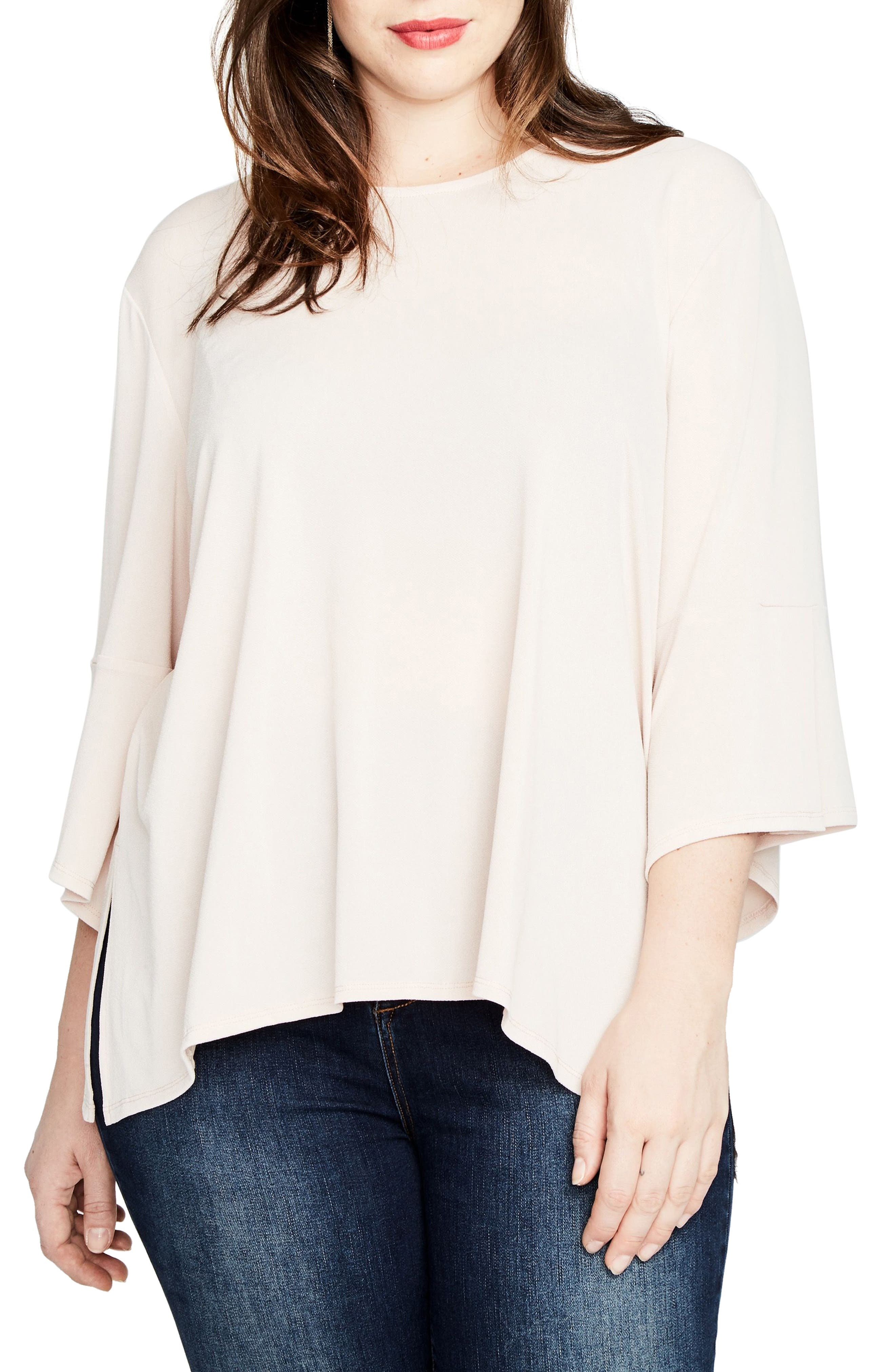 Bell Sleeve Top,                             Main thumbnail 1, color,                             Blush