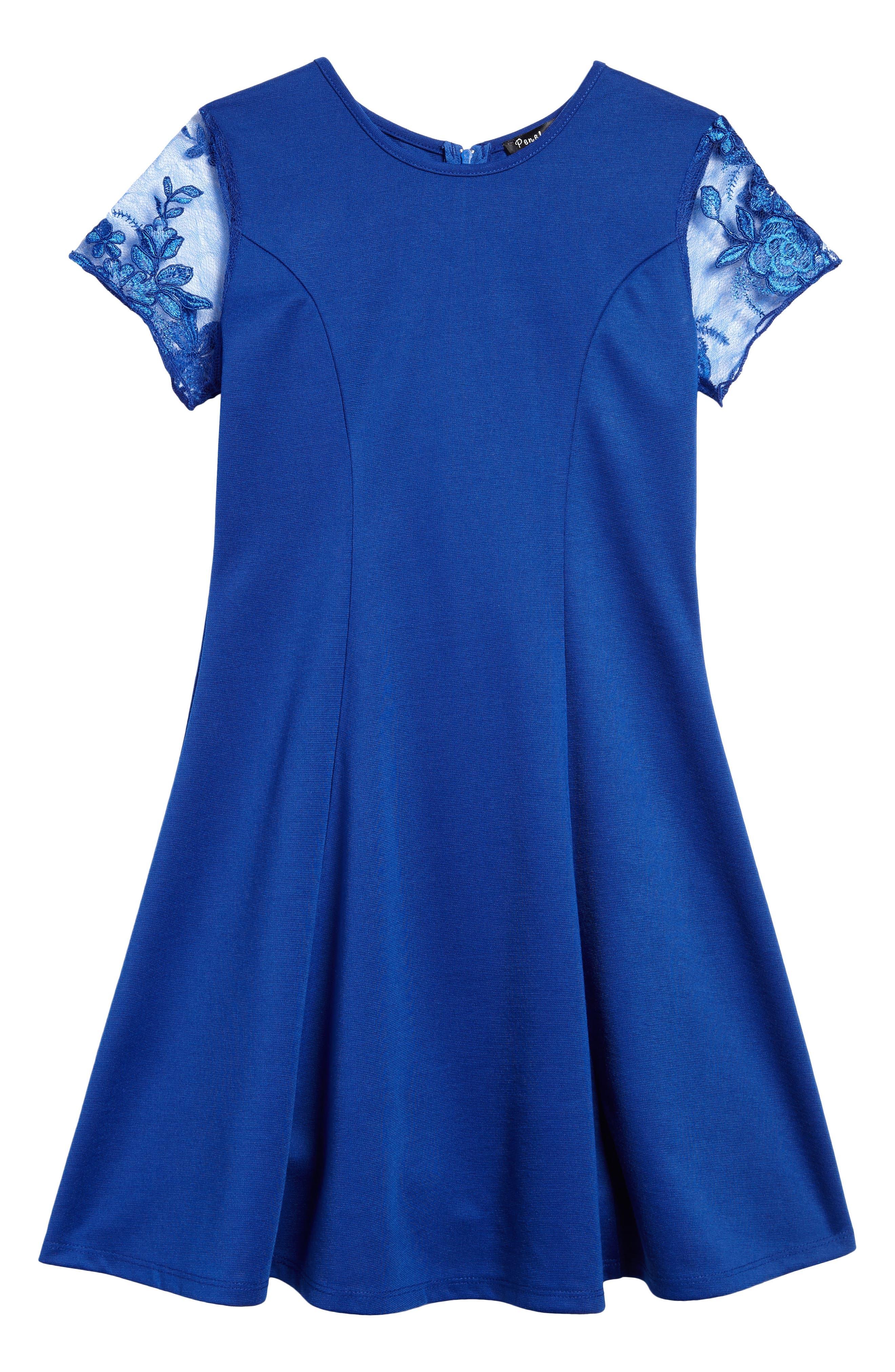 Priscilla Lace Sleeve Dress,                         Main,                         color, Royal