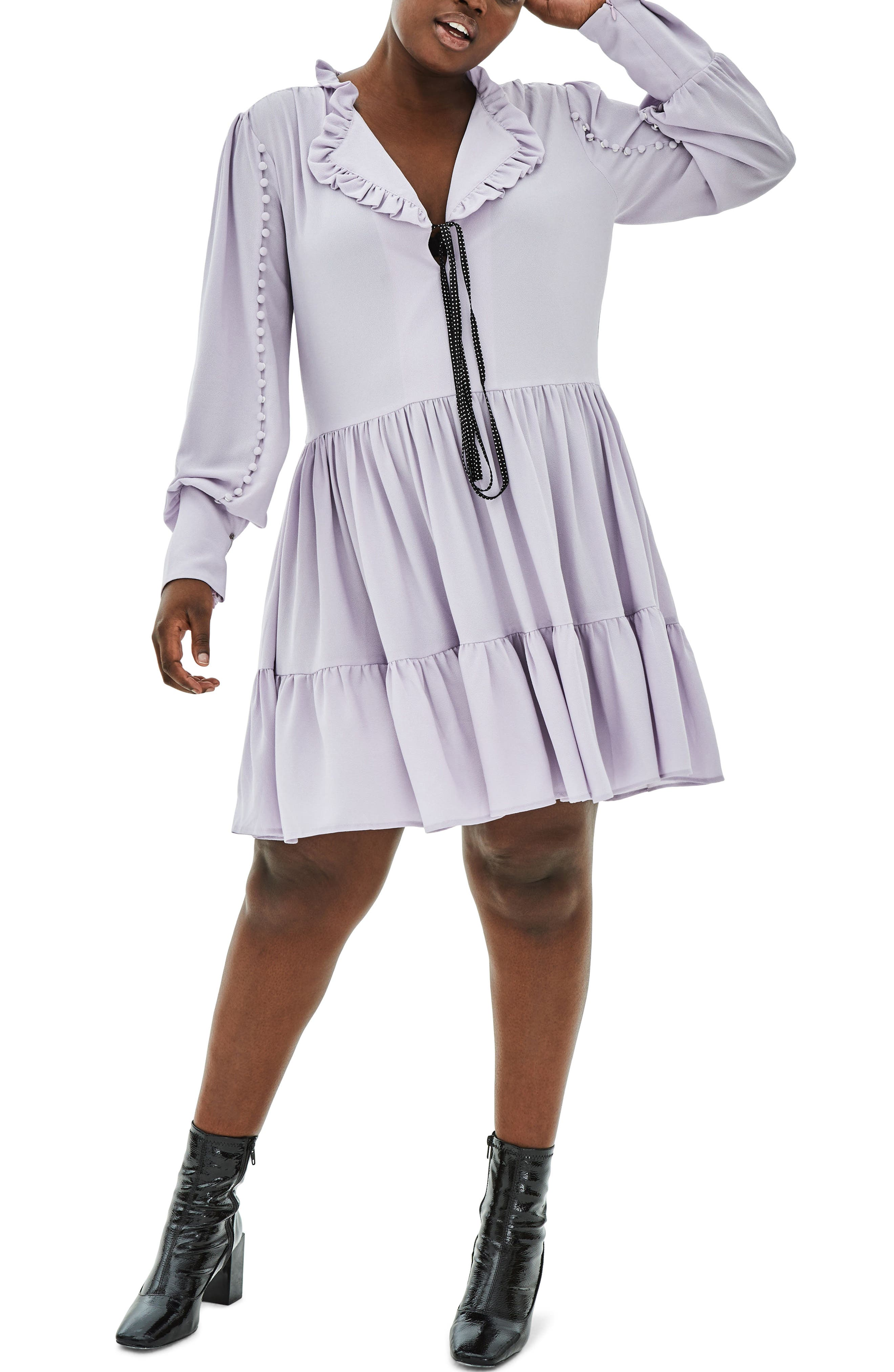 The Poe Rouleau Sleeve Tiered Dress,                             Main thumbnail 1, color,                             Purple