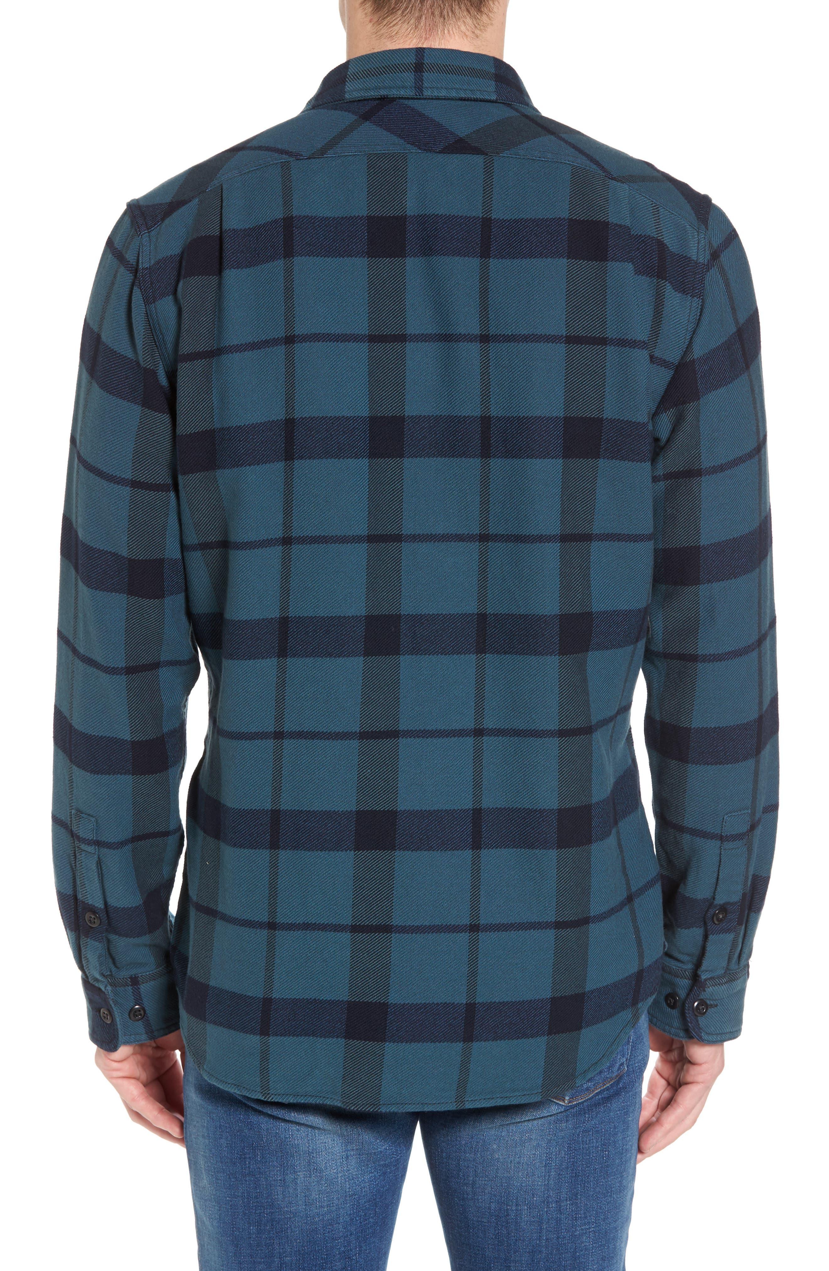 'Vintage Flannel' Regular Fit Plaid Cotton Shirt,                             Alternate thumbnail 7, color,                             Brown/ Navy