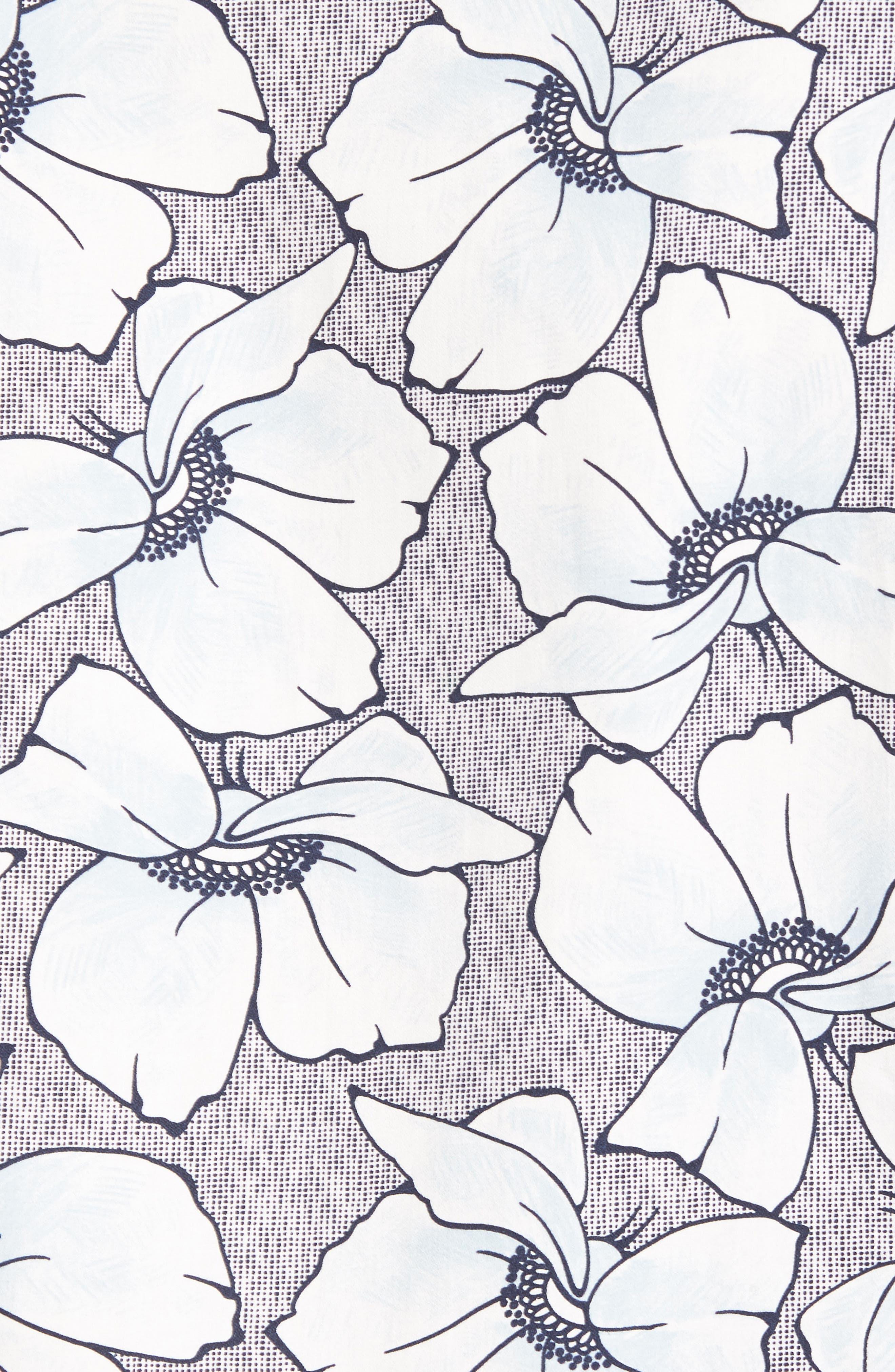 Ligflo Trim Fit Floral Print Sport Shirt,                             Alternate thumbnail 5, color,                             Light Blue