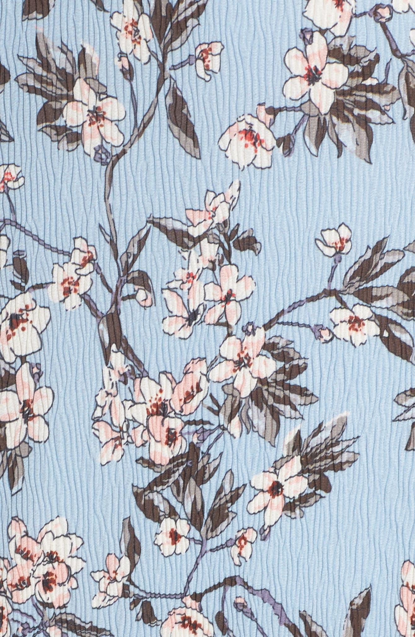 Floral Print High/Low Halter Dress,                             Alternate thumbnail 5, color,                             Blue Madison Floral