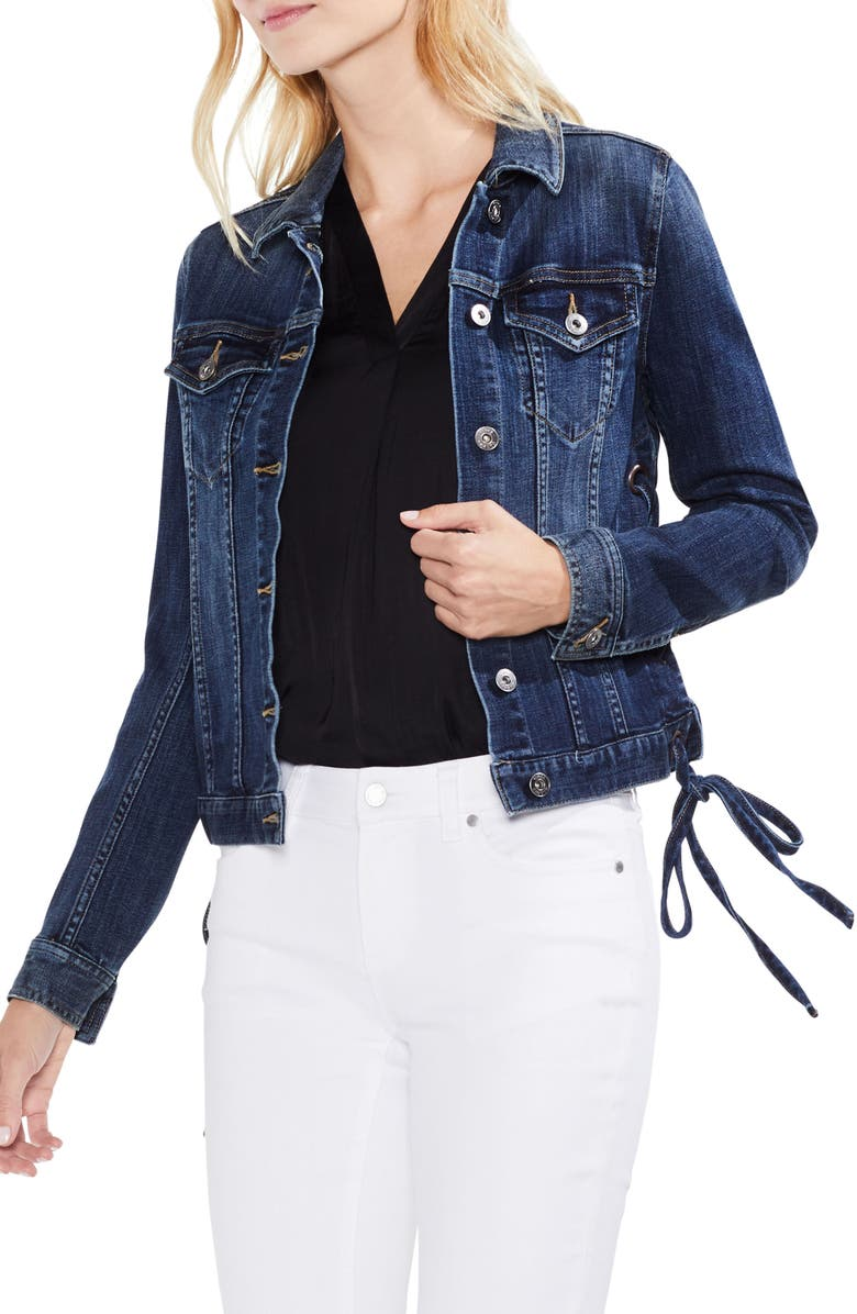 Lace-Up Side Indigo Denim Jacket