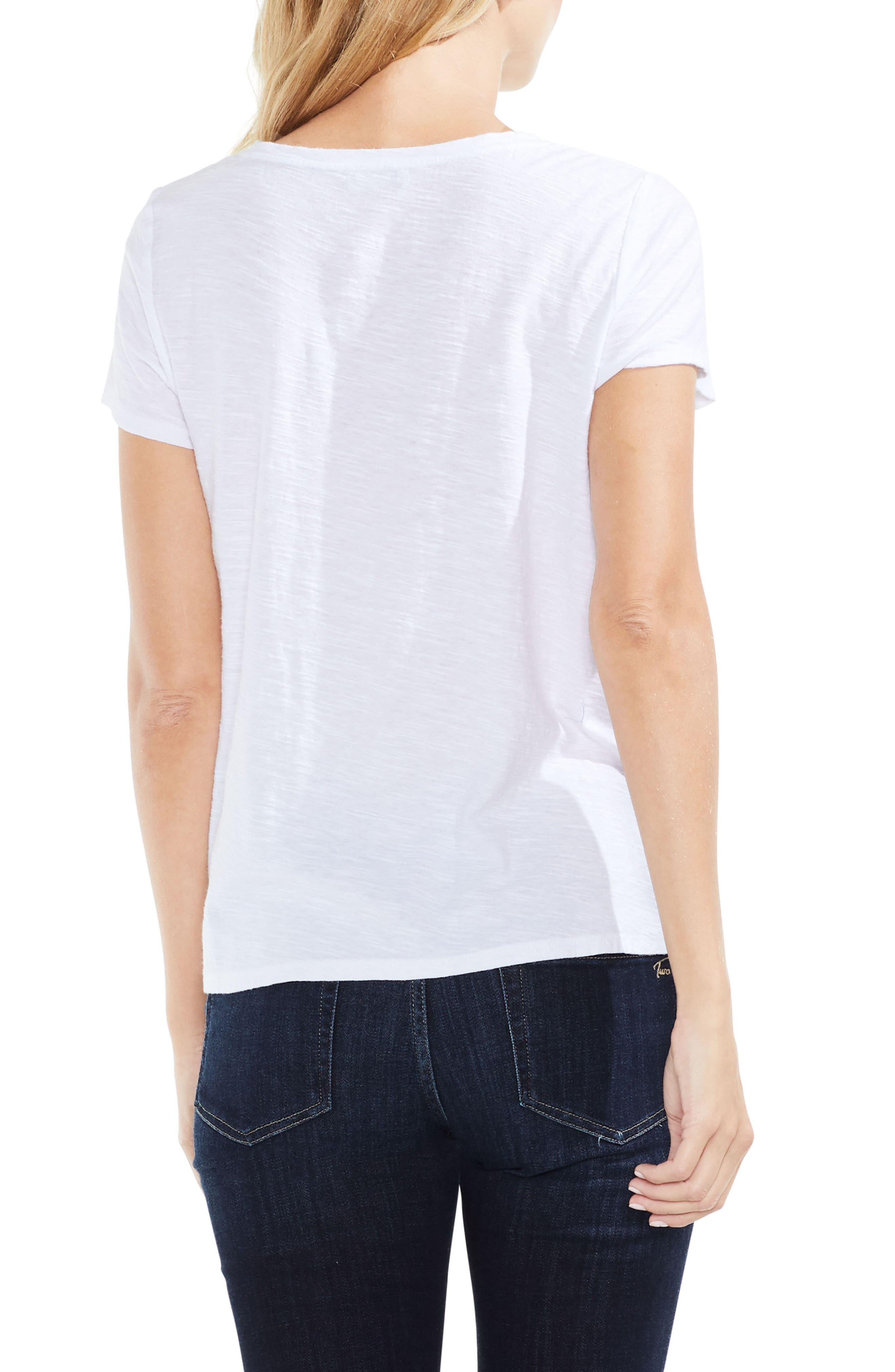 Alternate Image 2  - Vince Camuto Embroidered Stripe Inset Tee