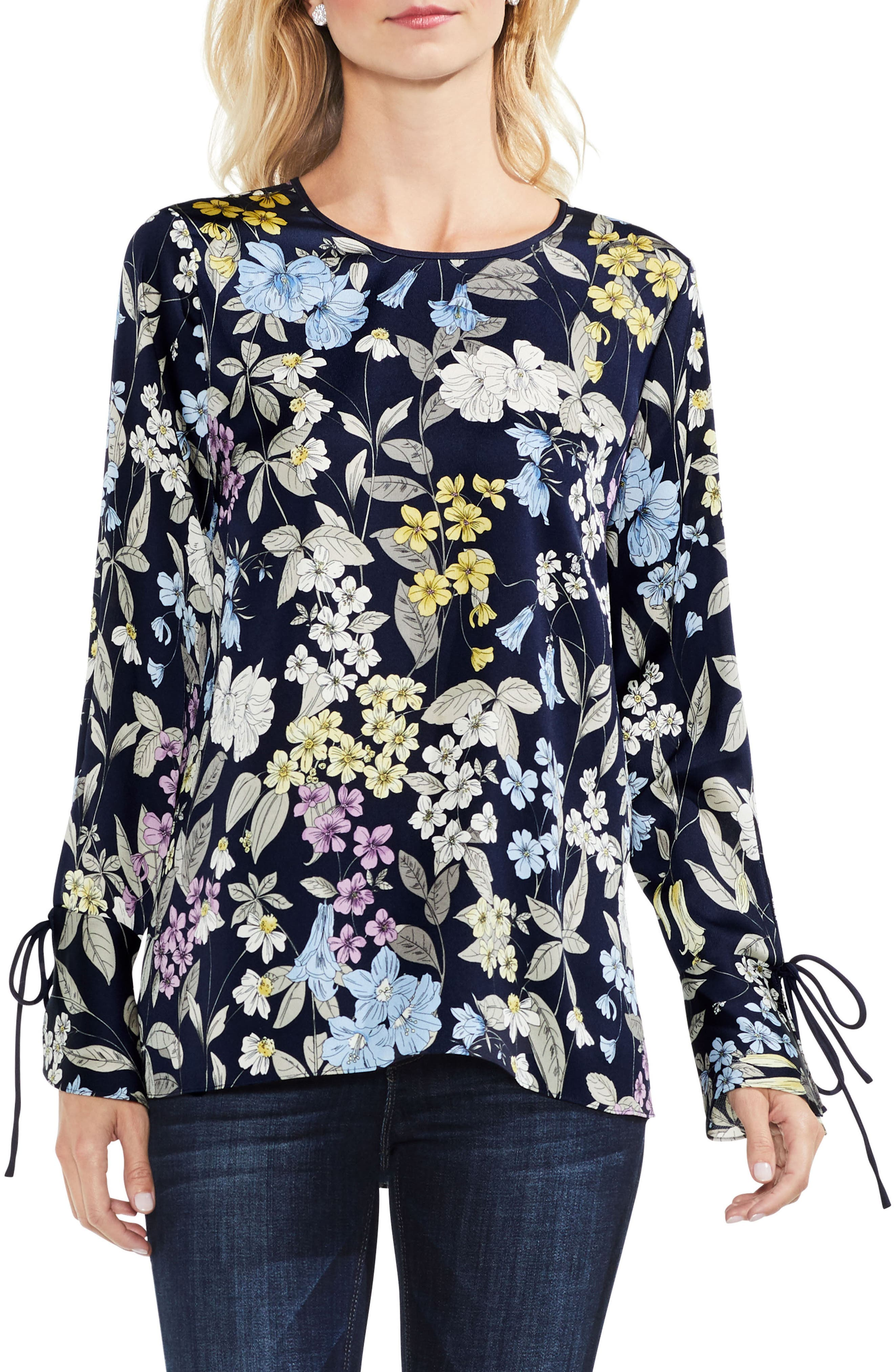 Vince Camuto  COUNTRY FLORAL BELL CUFF BLOUSE