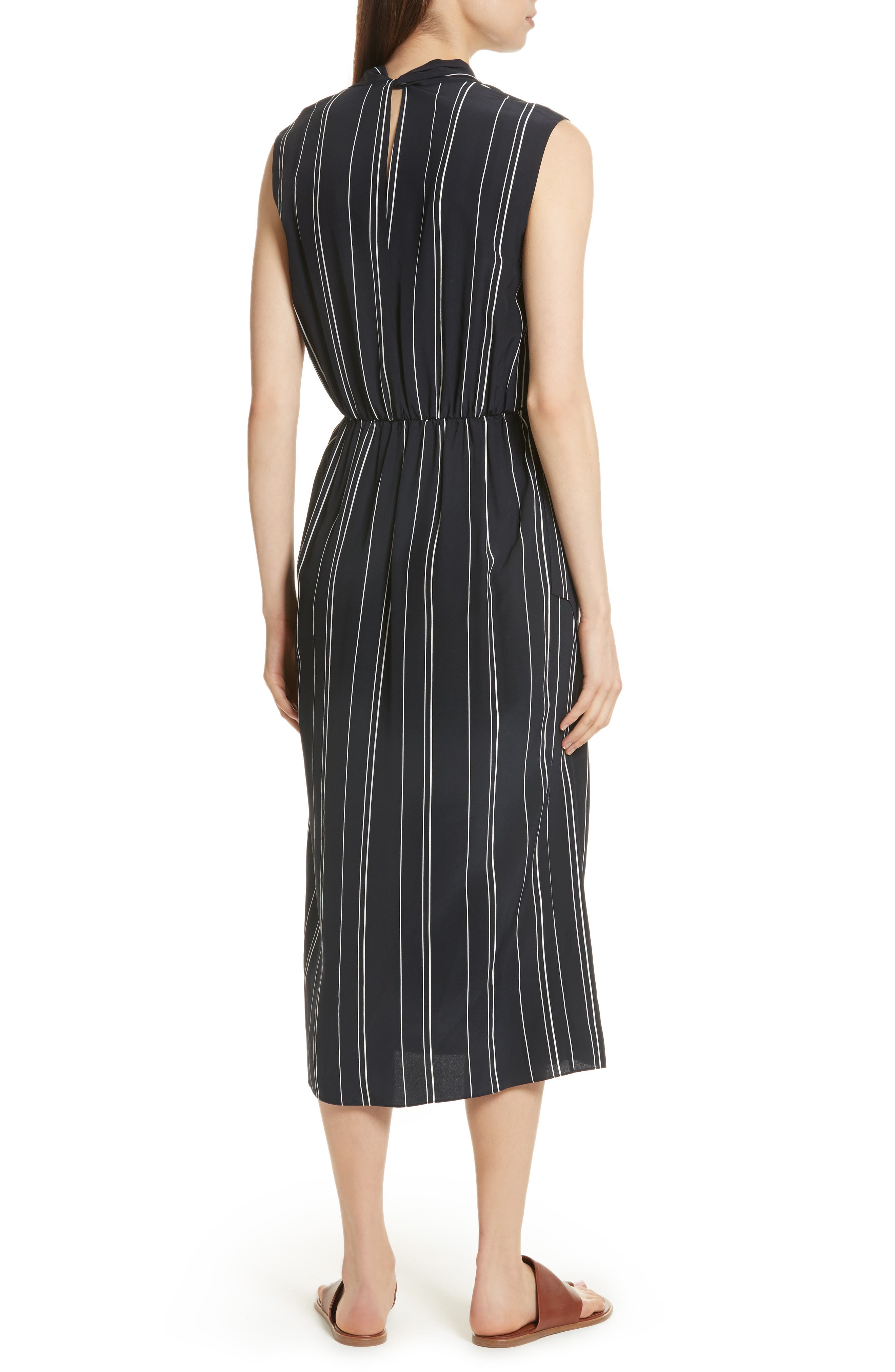 Draped Front Stripe Silk Midi Dress,                             Alternate thumbnail 2, color,                             Coastal