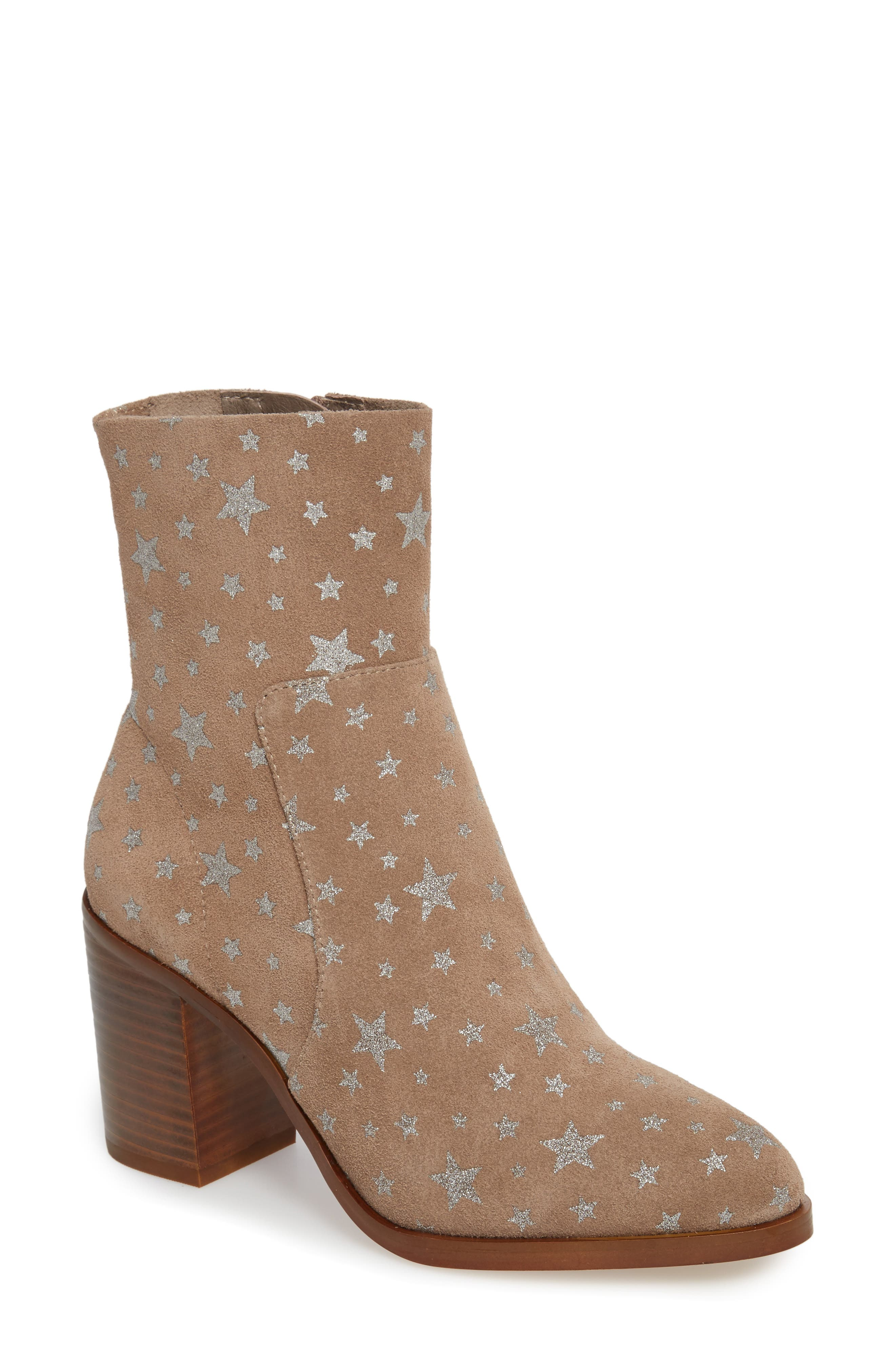 Reward Star Print Bootie,                             Main thumbnail 1, color,                             Taupe Multi Suede