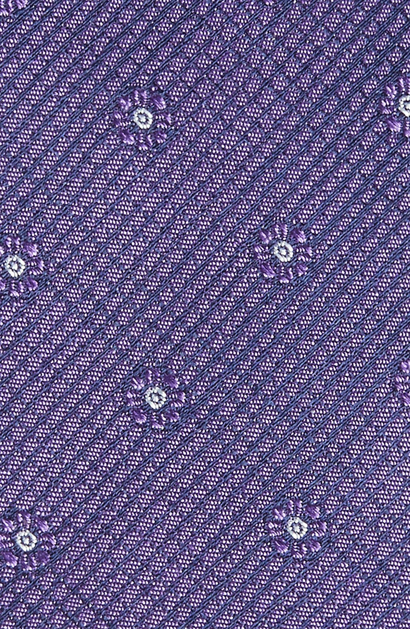 Fleur Medallion Silk Skinny Tie,                             Alternate thumbnail 2, color,                             Purple