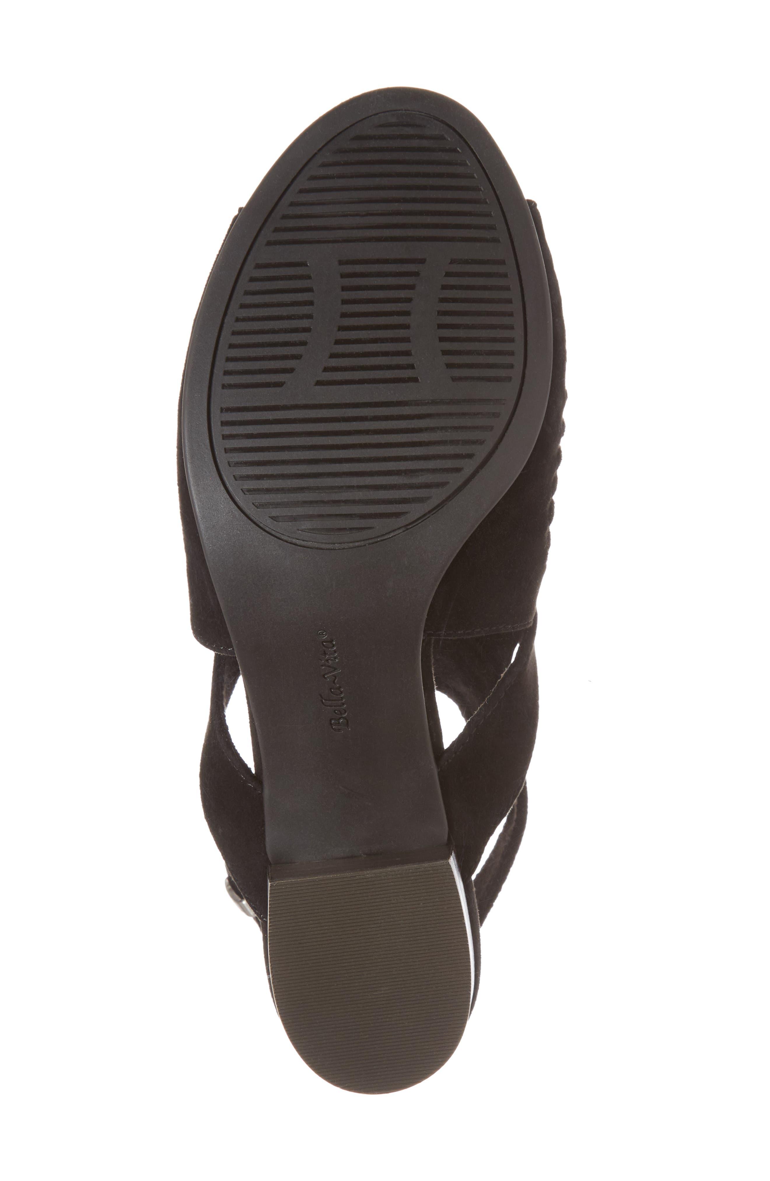 Finley Ankle Strap Sandal,                             Alternate thumbnail 6, color,                             Black Suede