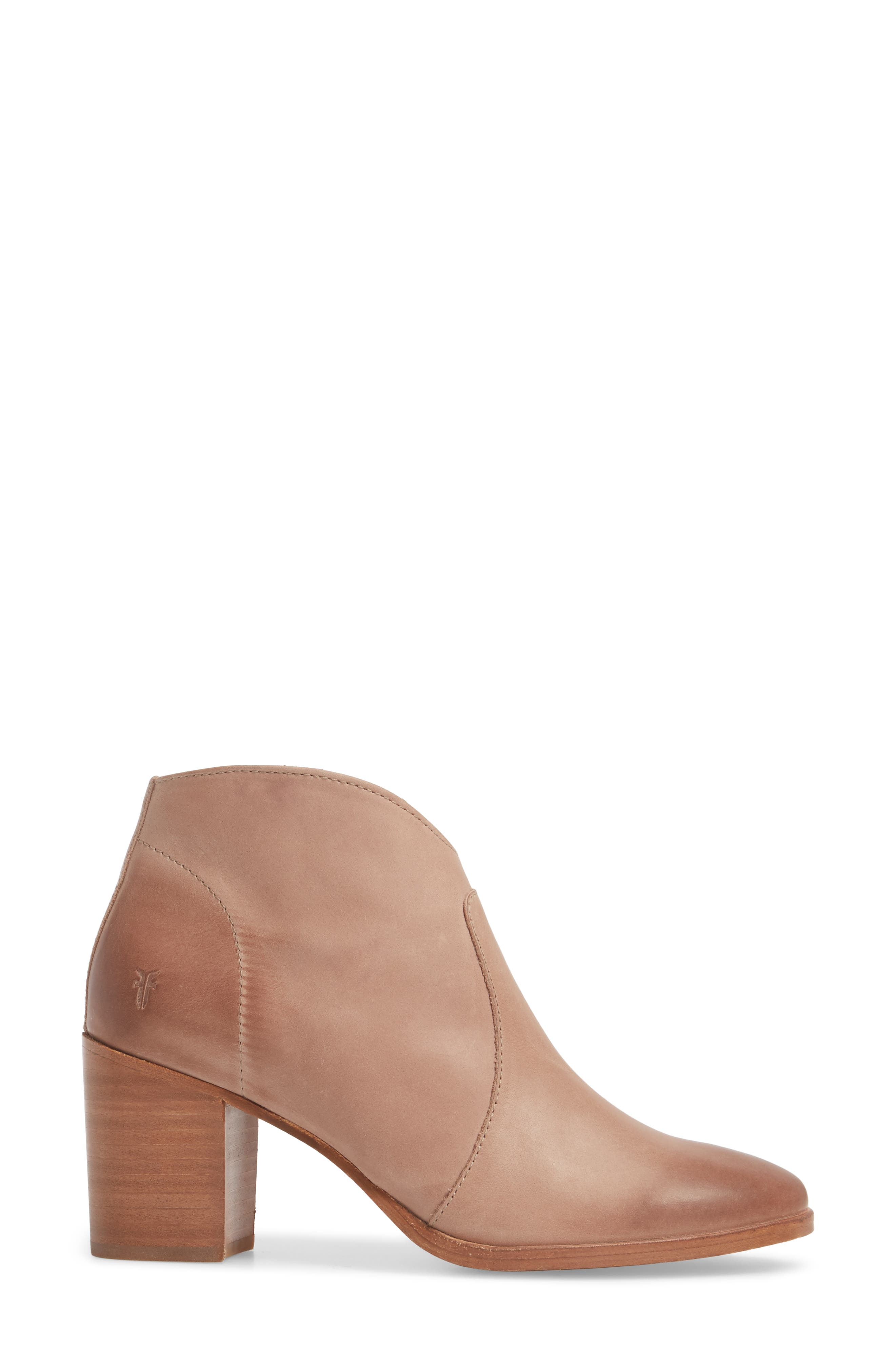 Nora Zip Bootie,                             Alternate thumbnail 3, color,                             Dusty Rose