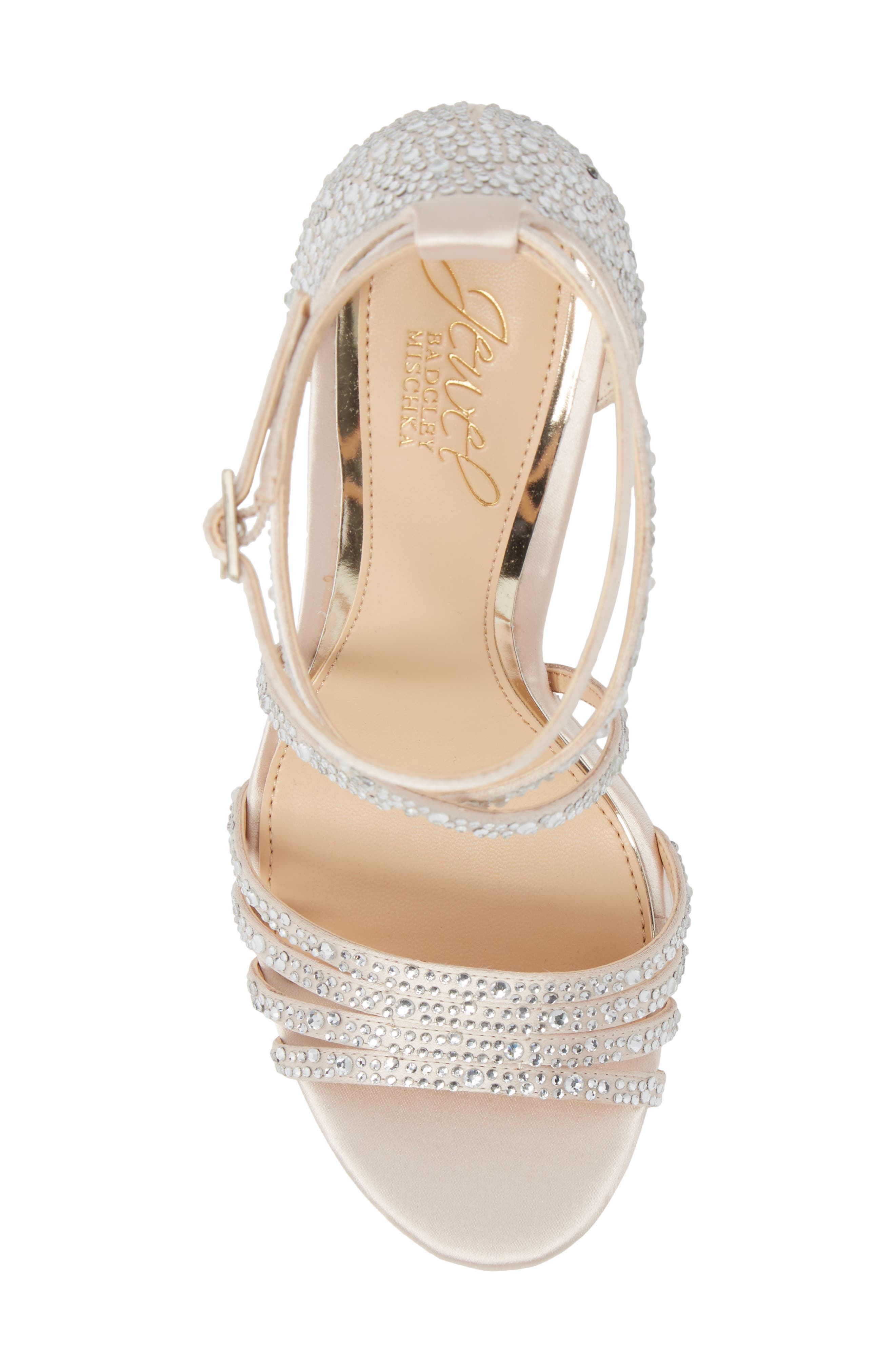 Tarah Crystal Embellished Platform Sandal,                             Alternate thumbnail 5, color,                             Champagne Satin