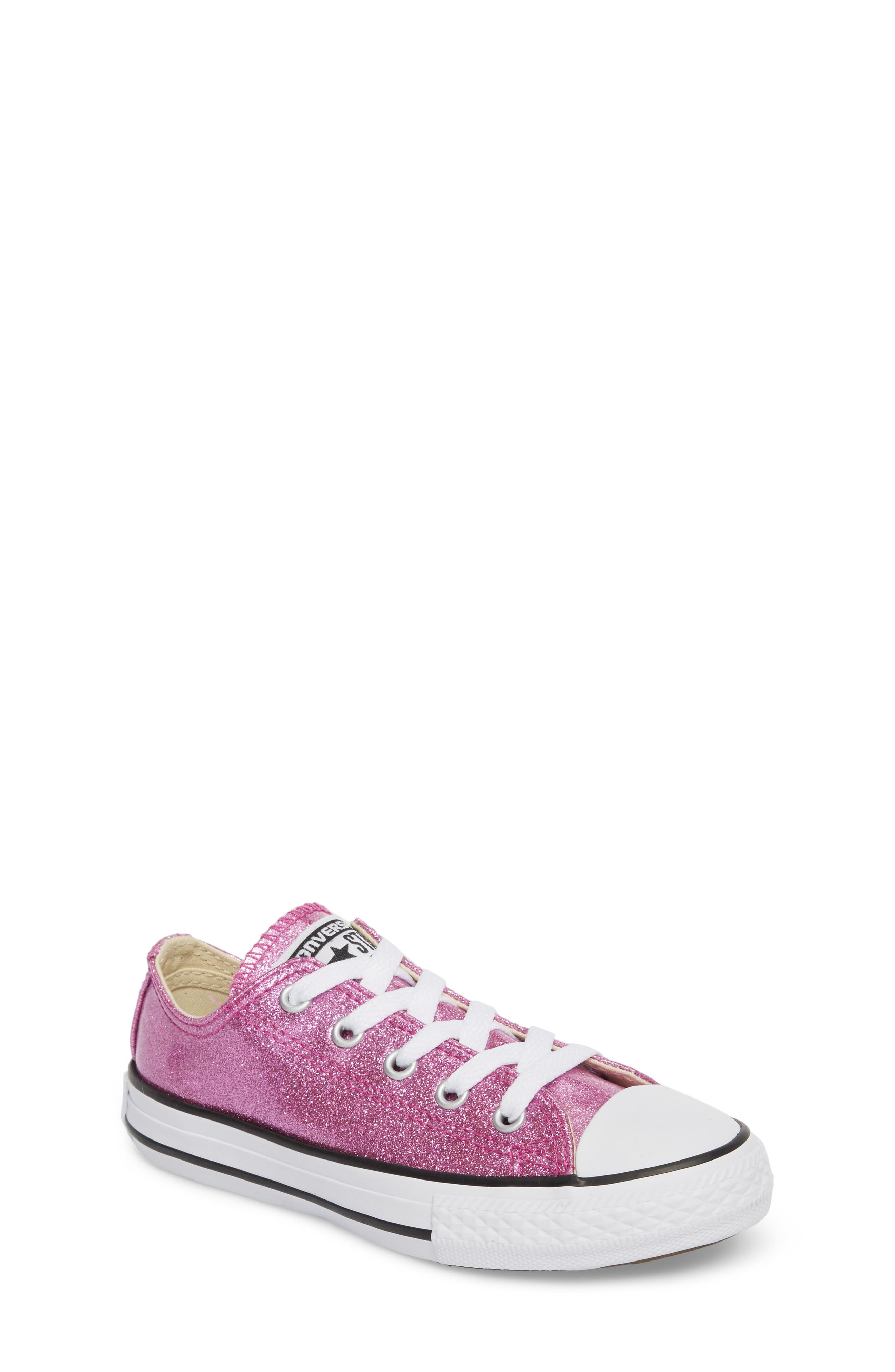 All Star<sup>®</sup> Seasonal Glitter OX Low Top Sneaker,                             Main thumbnail 1, color,                             Bright Violet