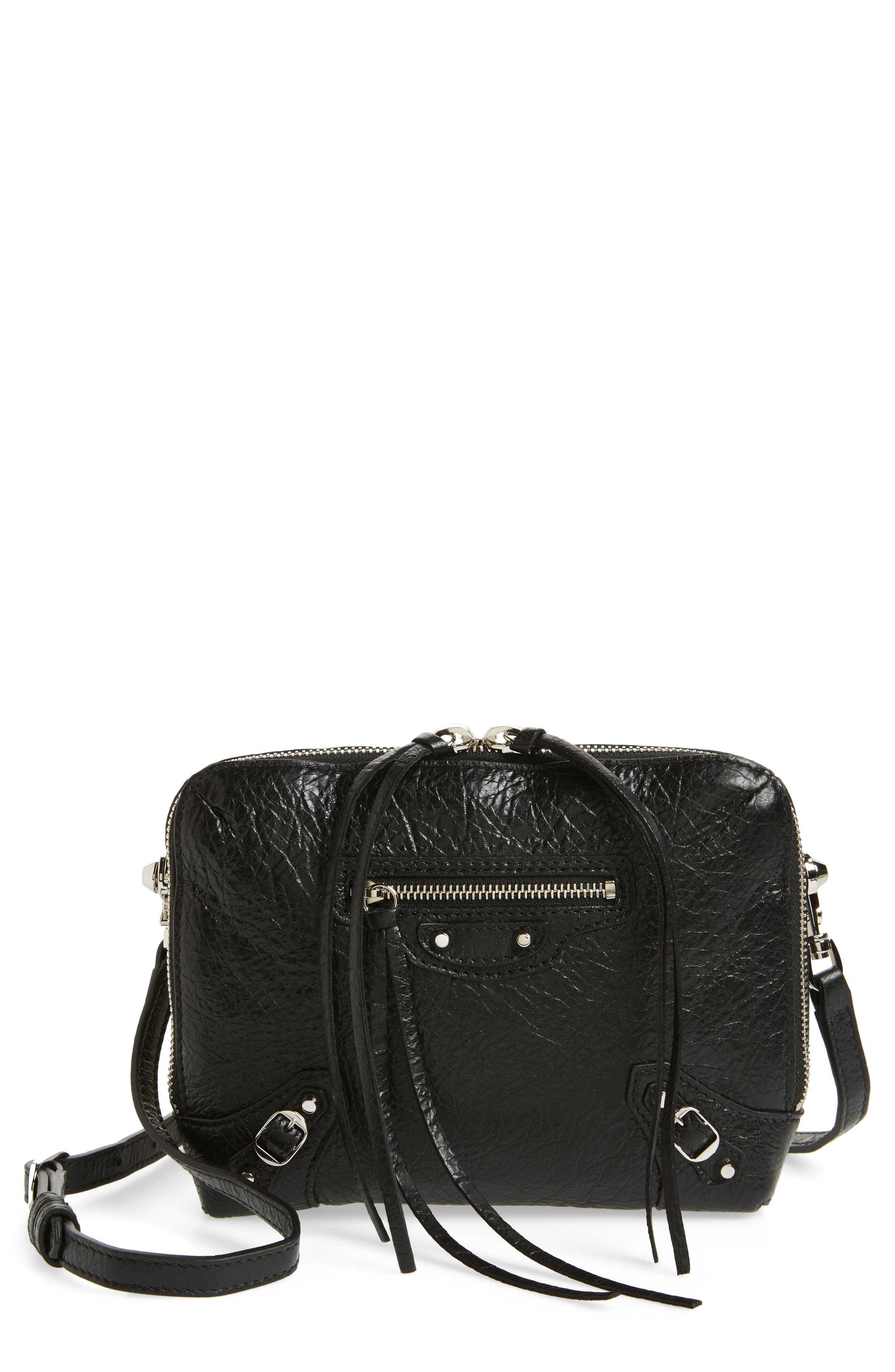 Extra Small Classic Reporter Leather Shoulder Bag,                             Main thumbnail 1, color,                             Noir