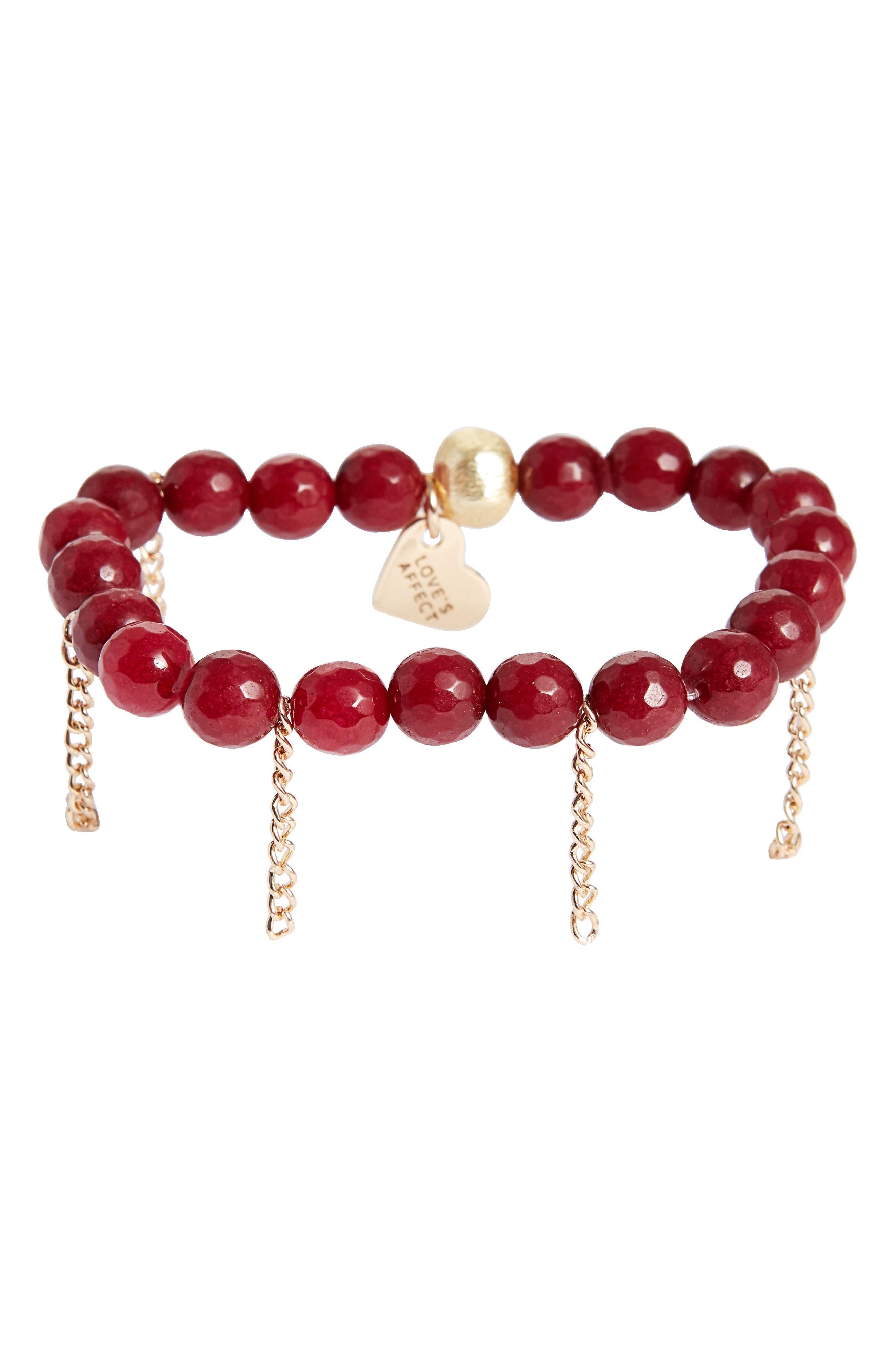 Love's Affect Devyn Semiprecious Stretch Bracelet,                         Main,                         color, Red