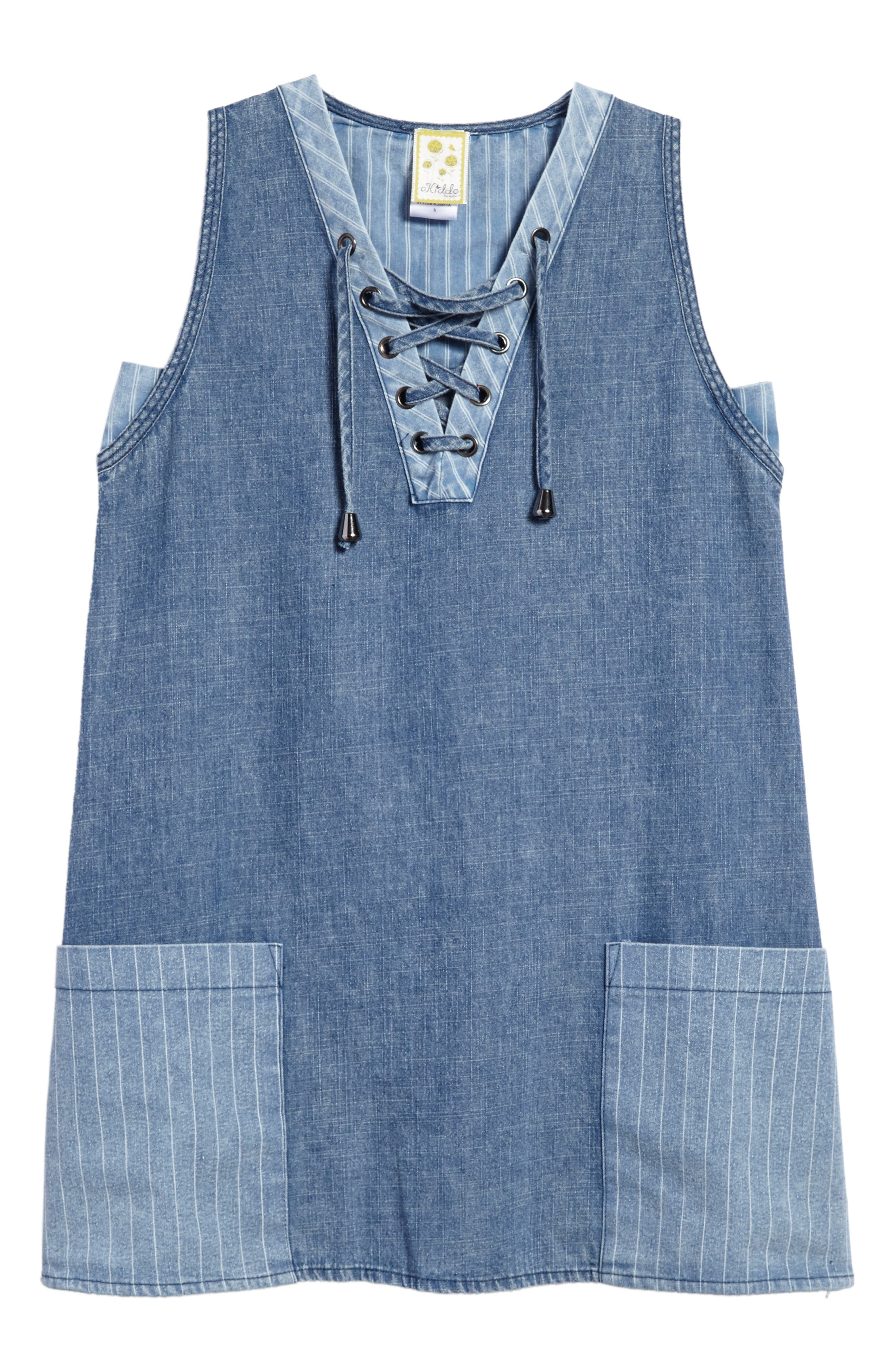 Alternate Image 1 Selected - Kiddo Denim Shift Dress (Big Girls)