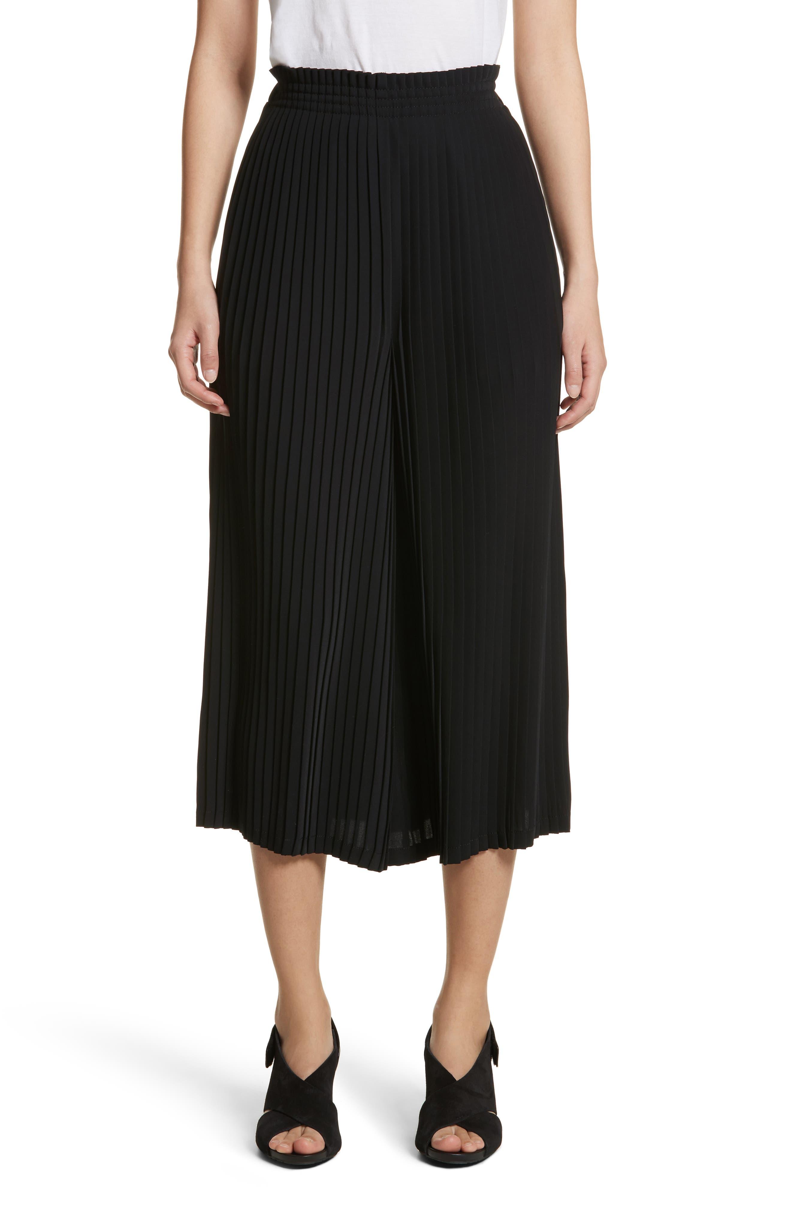 Pleated Crop Pants,                         Main,                         color, Black