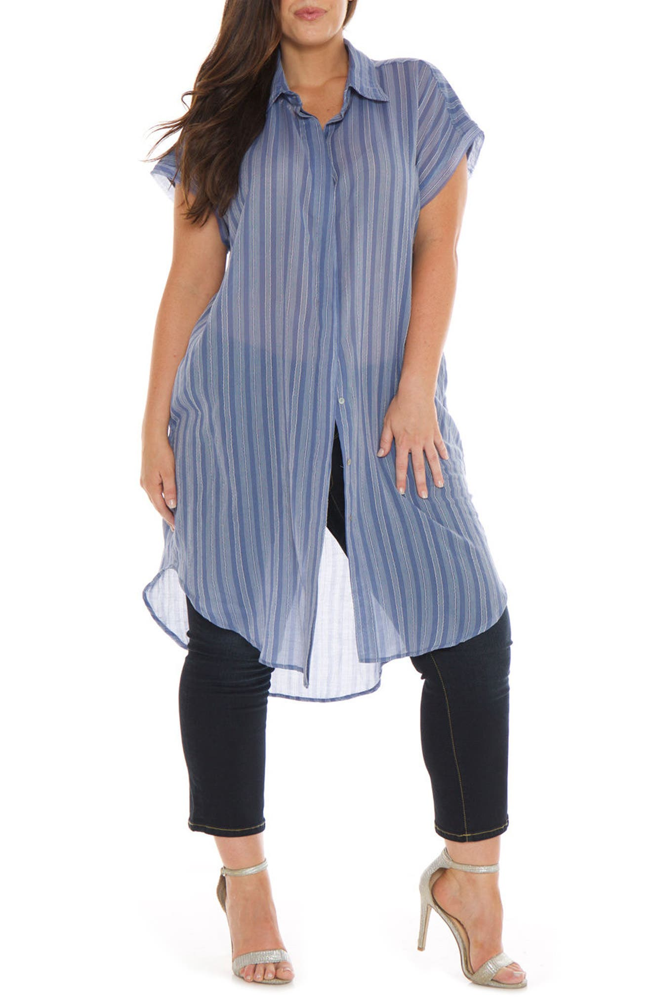 SLINK Jeans Stripe Oversize Cover-Up Shirt (Plus Size)
