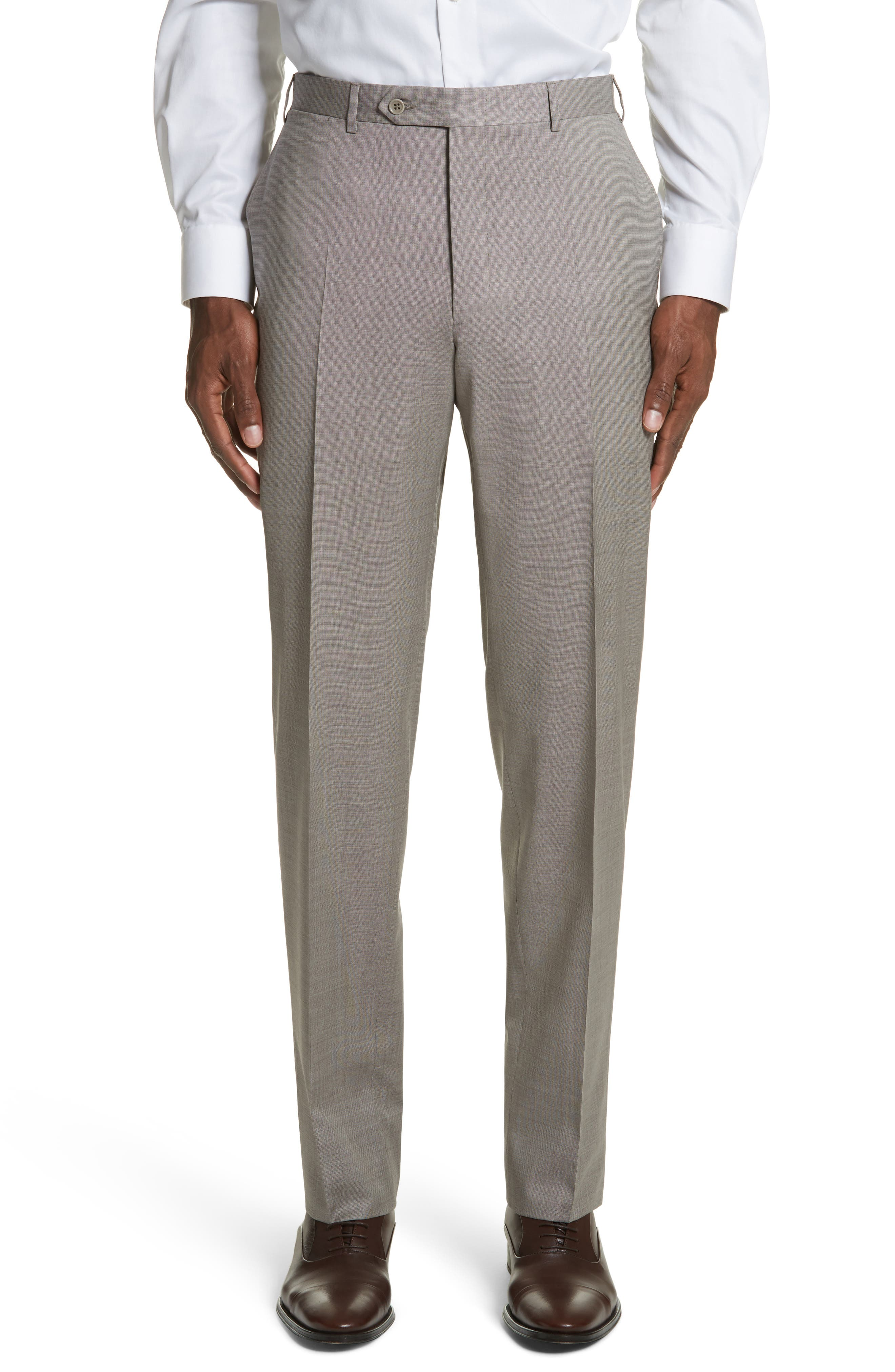 Flat Front Solid Wool Trousers,                         Main,                         color, Tan