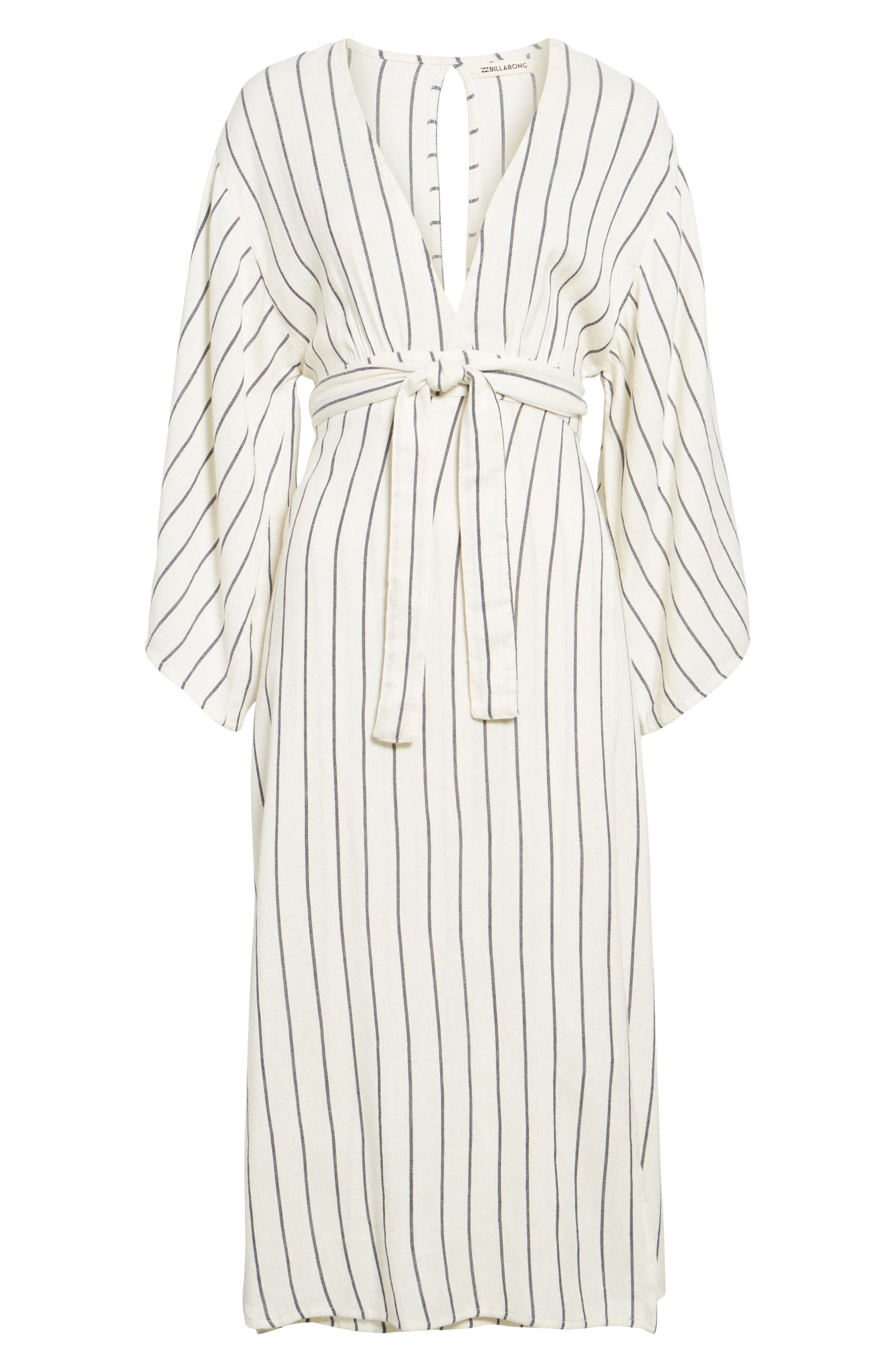 Robe Life Striped Midi Dress,                             Alternate thumbnail 6, color,                             Cool Wip