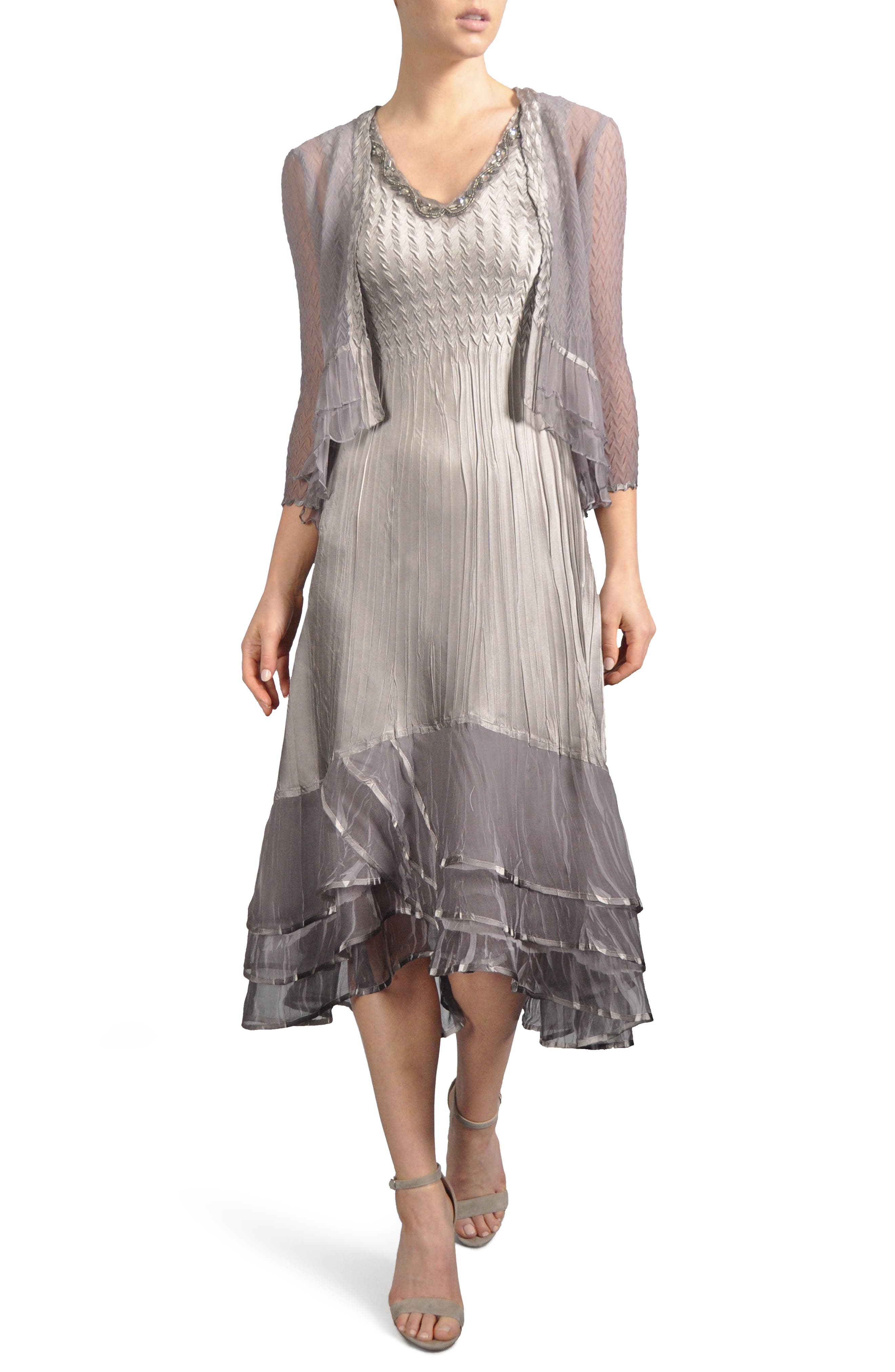 Embellished Tiered Hem Dress With Jacket,                             Main thumbnail 1, color,                             Oyster Smoke Ombre