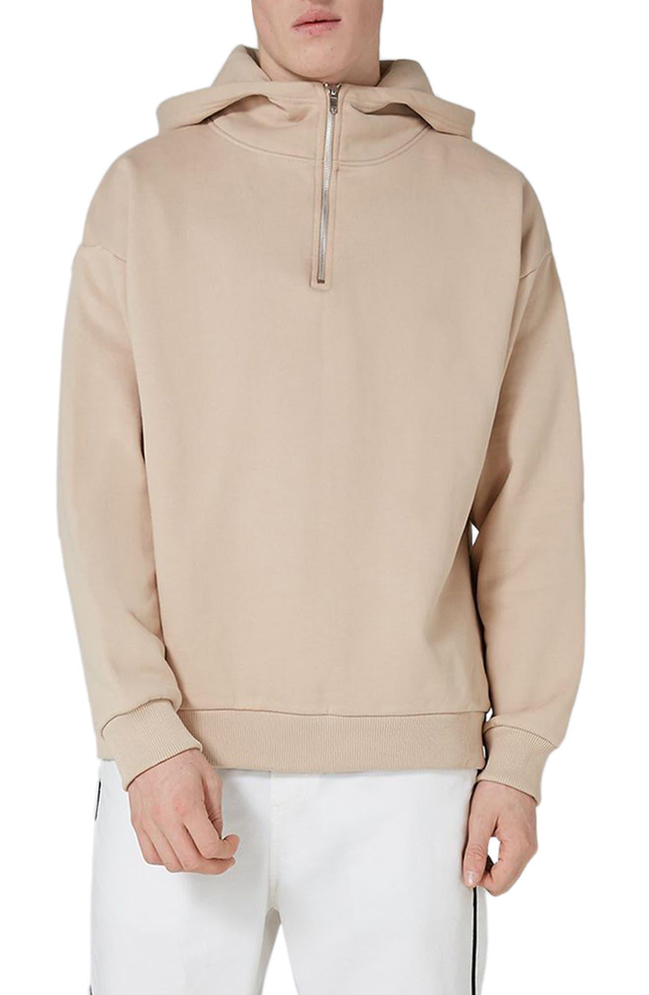 Premium Zip Neck Hoodie,                         Main,                         color, Light Beige