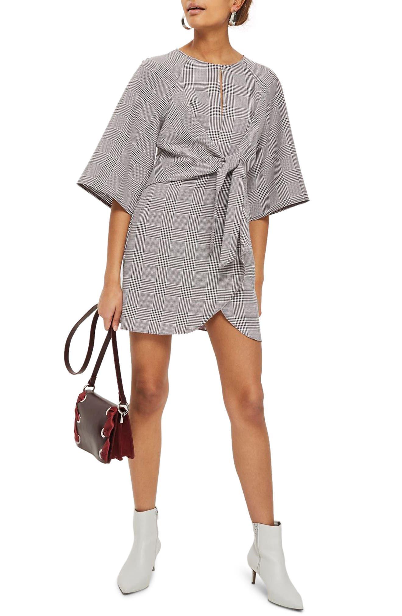 Plaid Knot Front Minidress,                         Main,                         color, Grey Multi