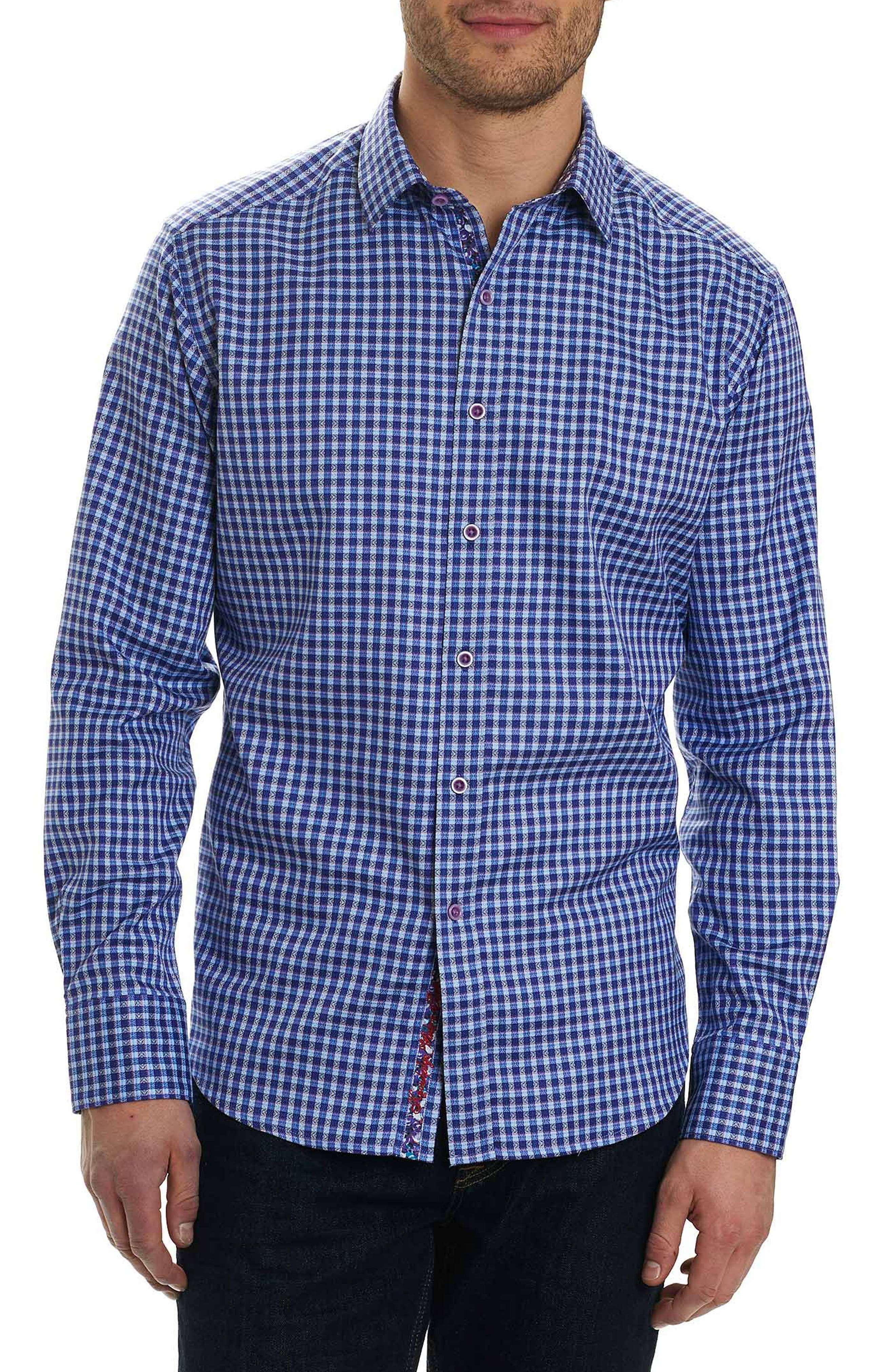 Matira Classic Fit Patterned Gingham Sport Shirt,                         Main,                         color, Purple