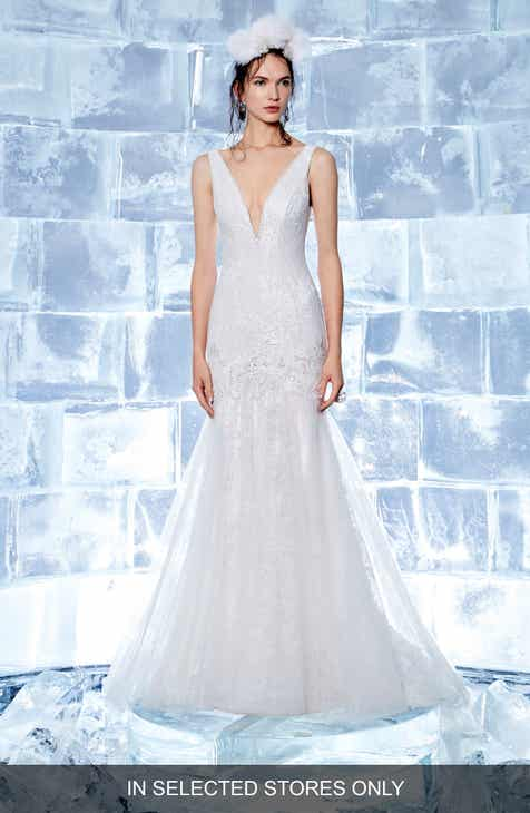 ba5dd962ad06 Ines by Ines Di Santo Crystal Embellished V-Neck Mermaid Gown