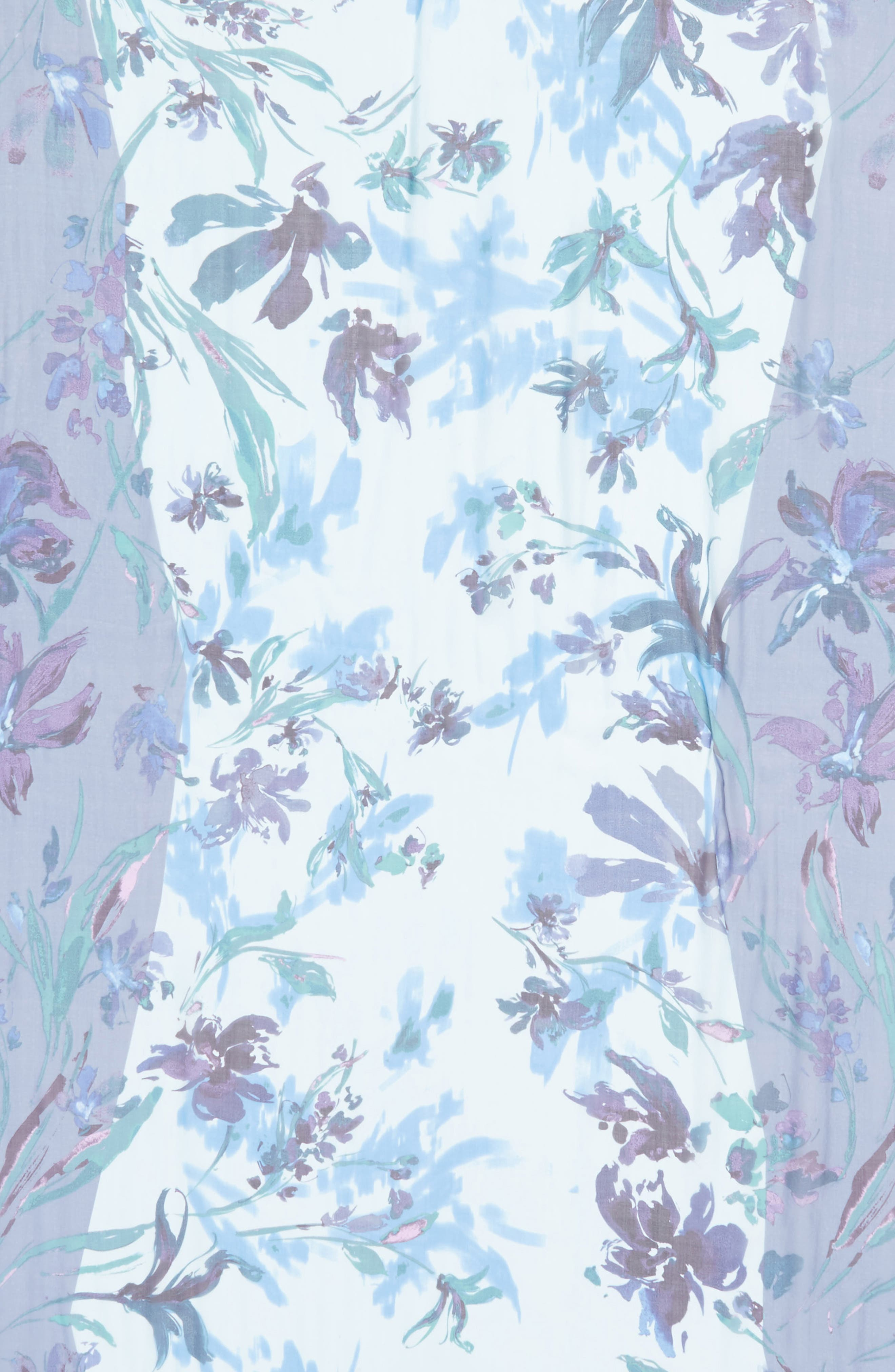 Silk Chiffon Oblong Scarf,                             Alternate thumbnail 4, color,                             Blue Mapped Floral Mix