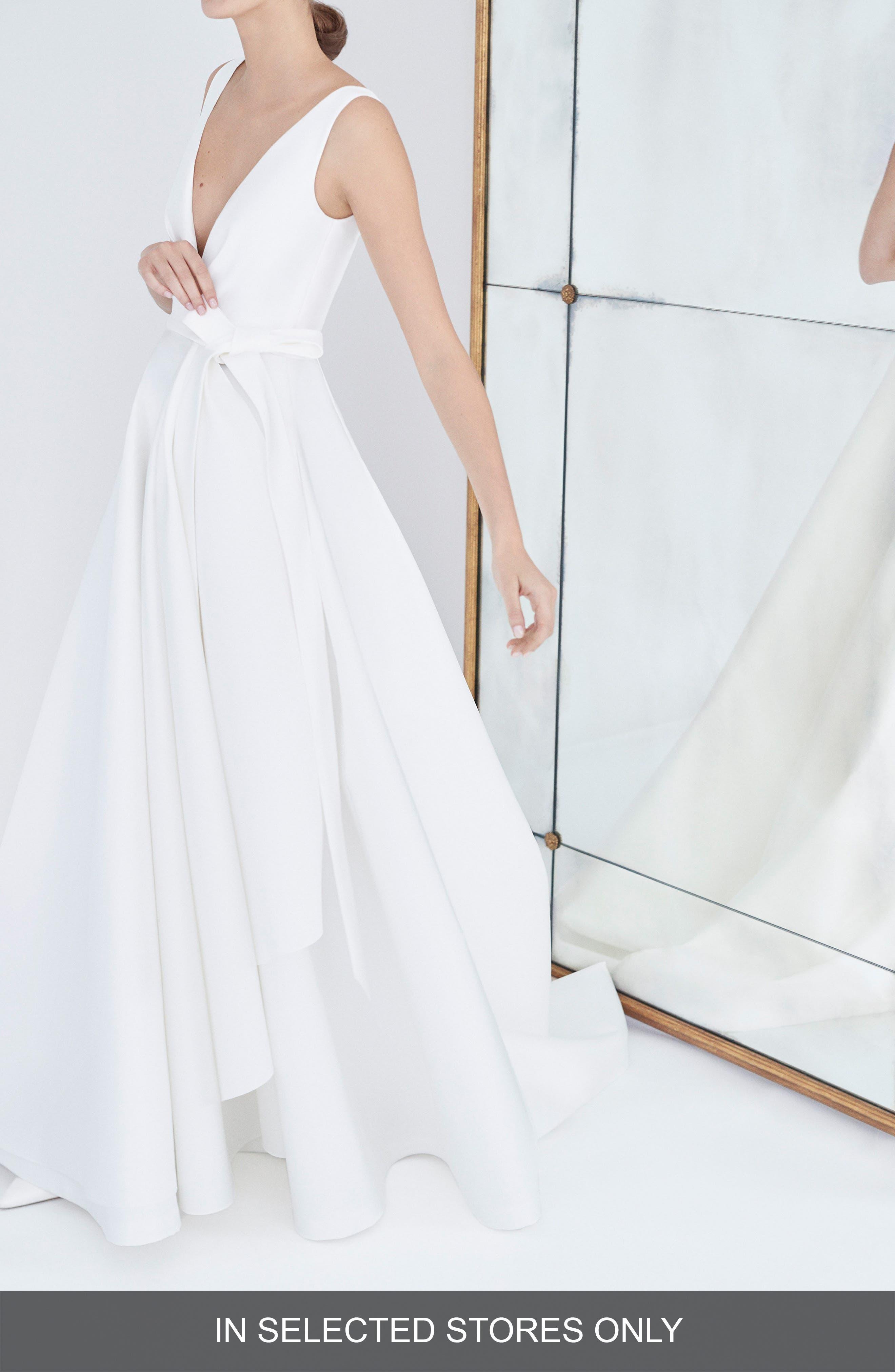 Gardenia Mikado Side Drape Gown,                             Alternate thumbnail 2, color,                             Silk White