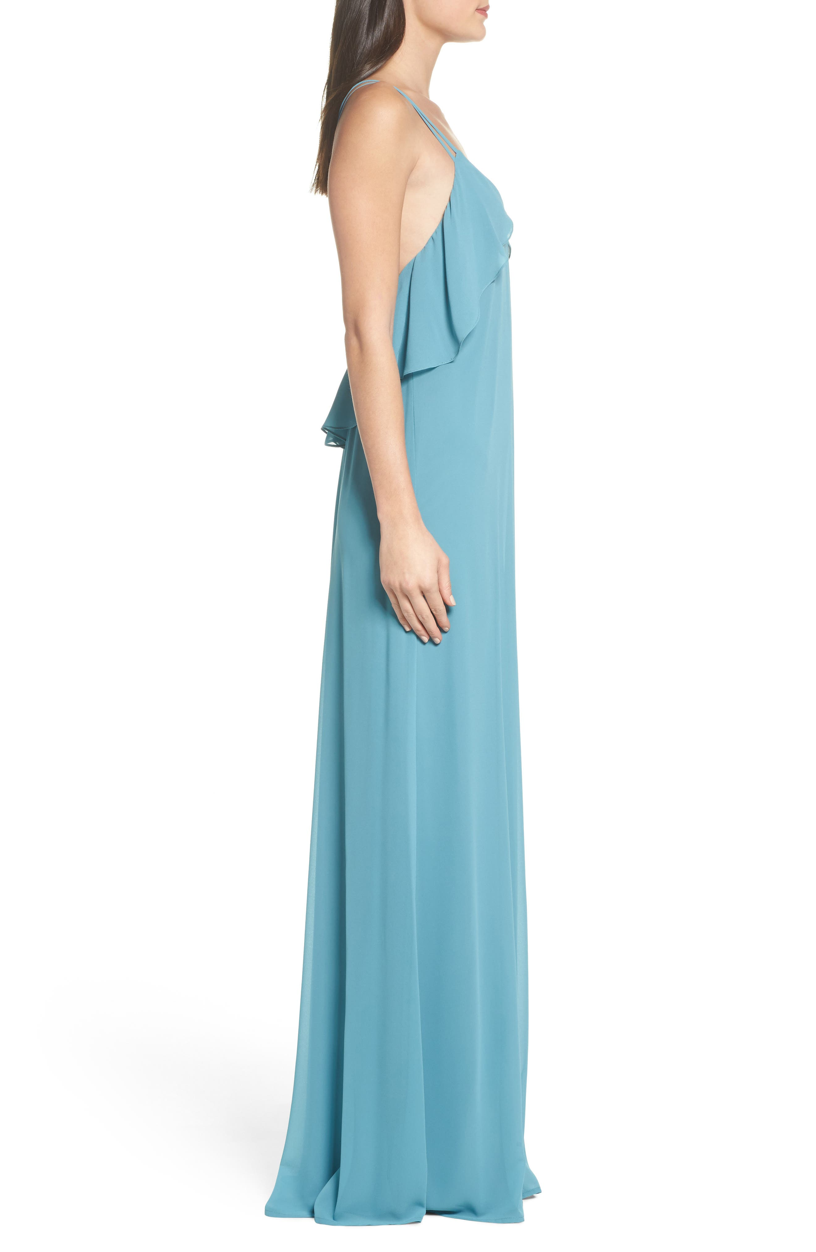 Avery Strappy Ruffle V-Neck Gown,                             Alternate thumbnail 3, color,                             Teal