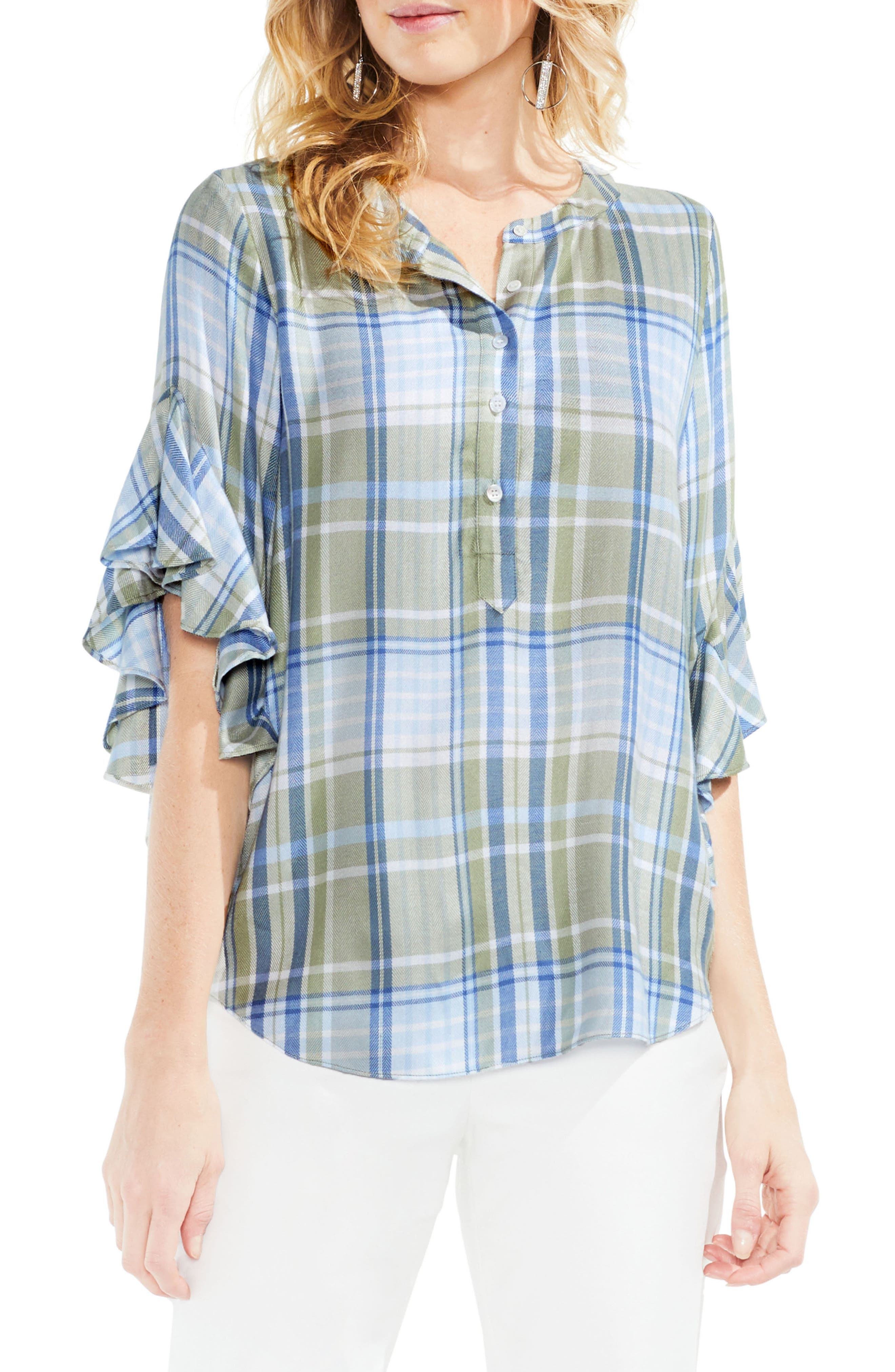 Vince Camuto Ruffle Sleeve Country Plaid Henley Shirt