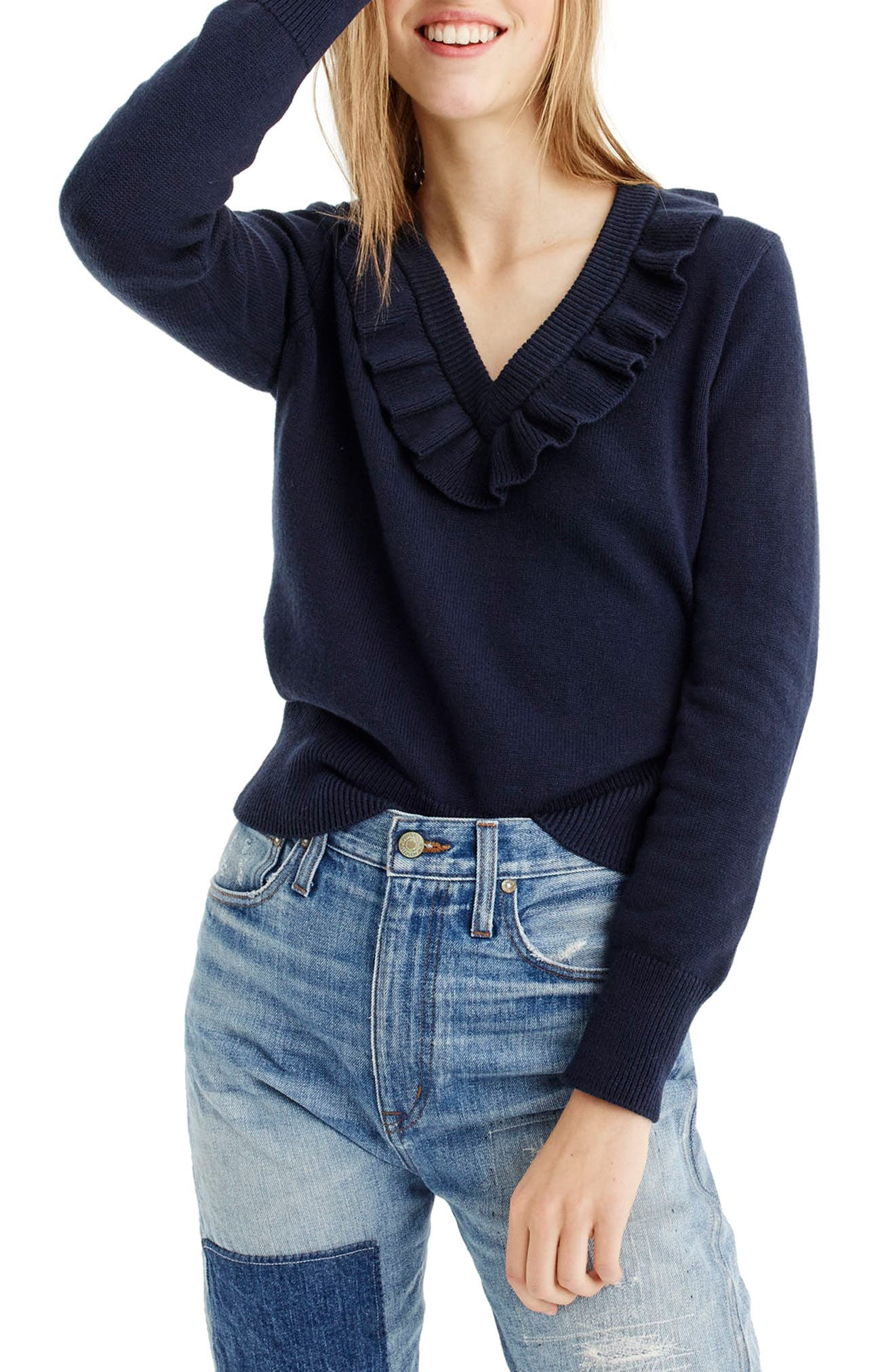 Main Image - J.Crew Ruffle V-Neck Sweater