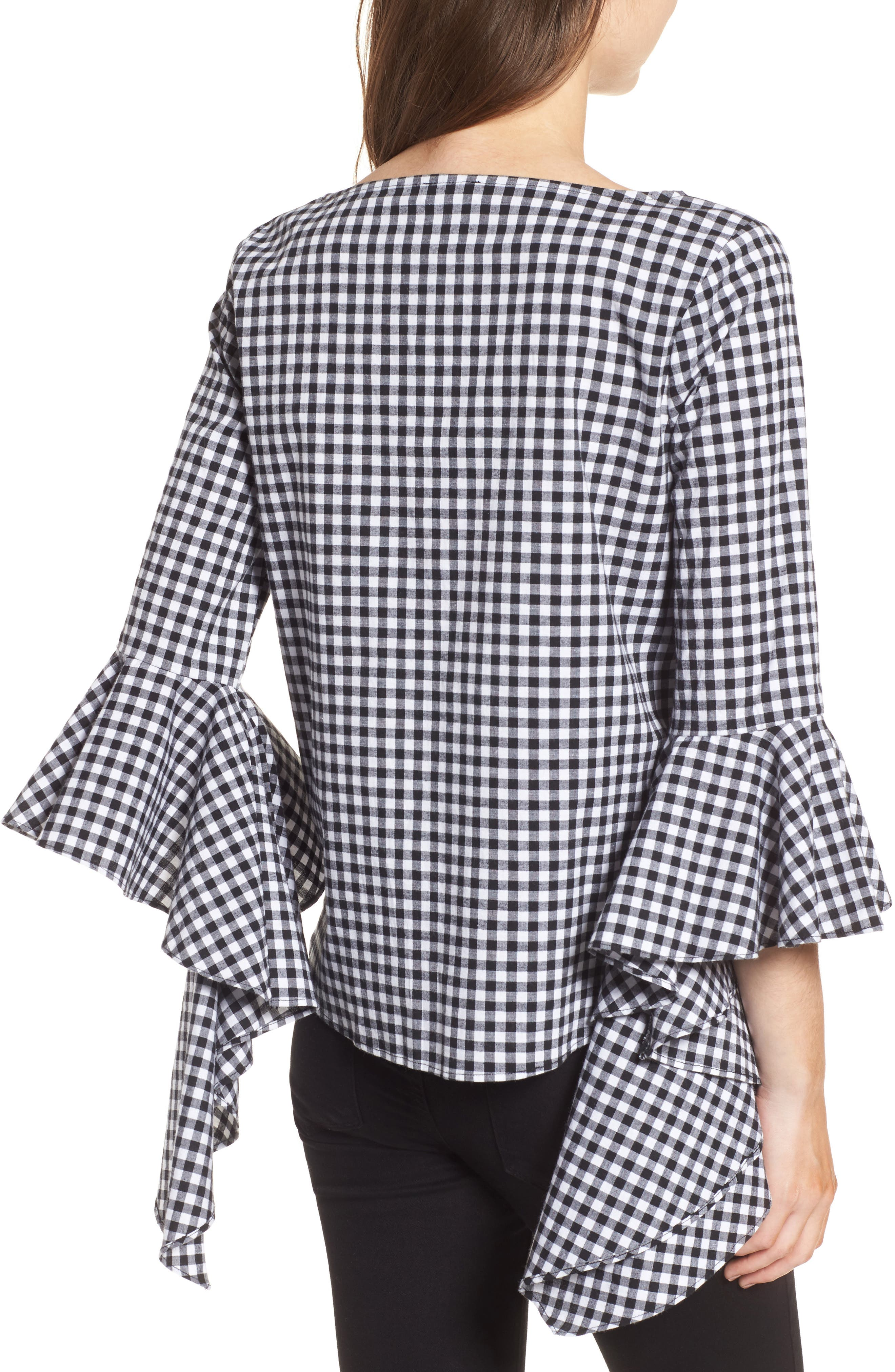 Gingham Ruffle Sleeve Top,                             Alternate thumbnail 2, color,                             Black- White Gingham