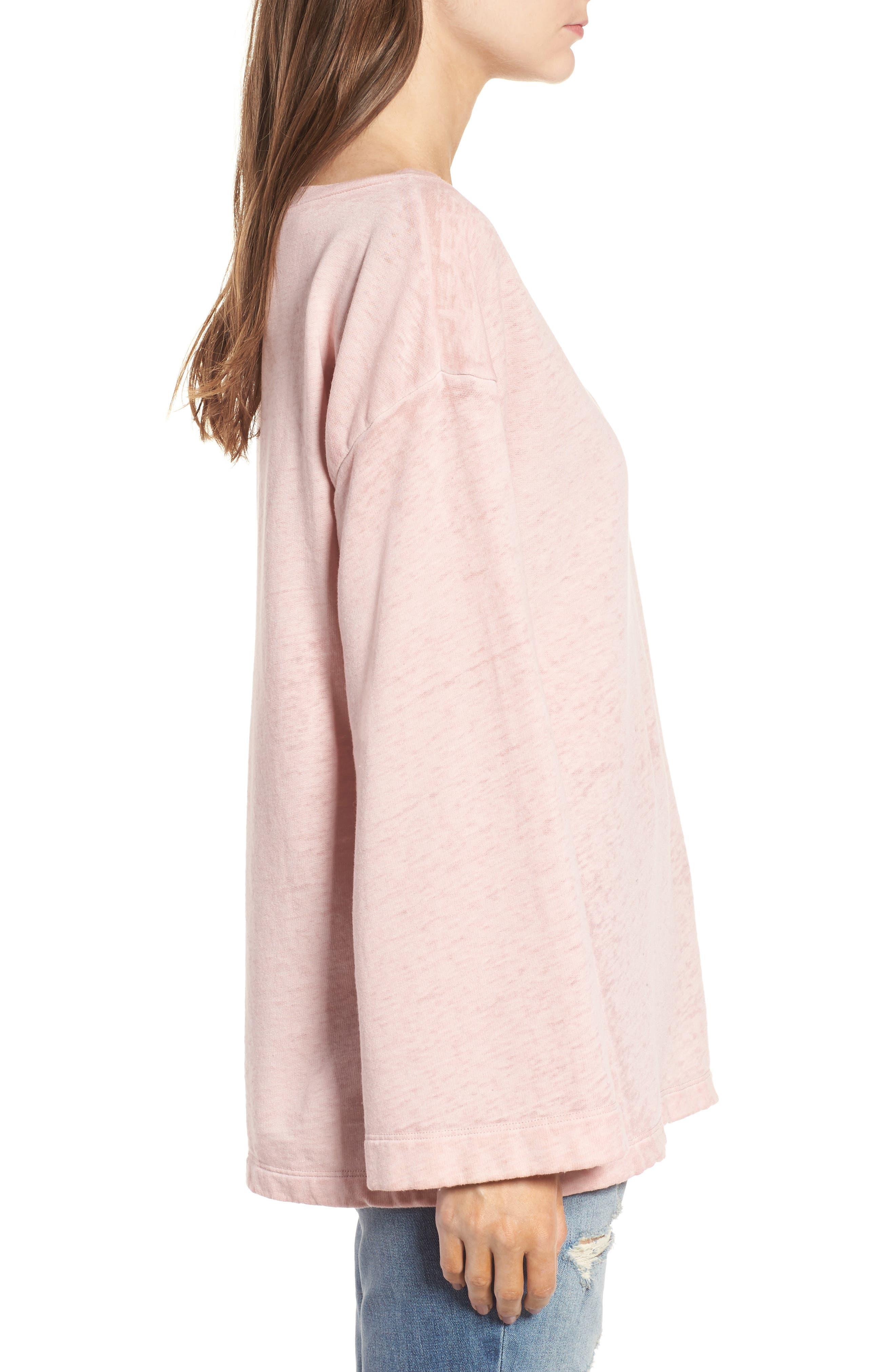 Bell Sleeve Sweatshirt,                             Alternate thumbnail 5, color,                             Pink Silver