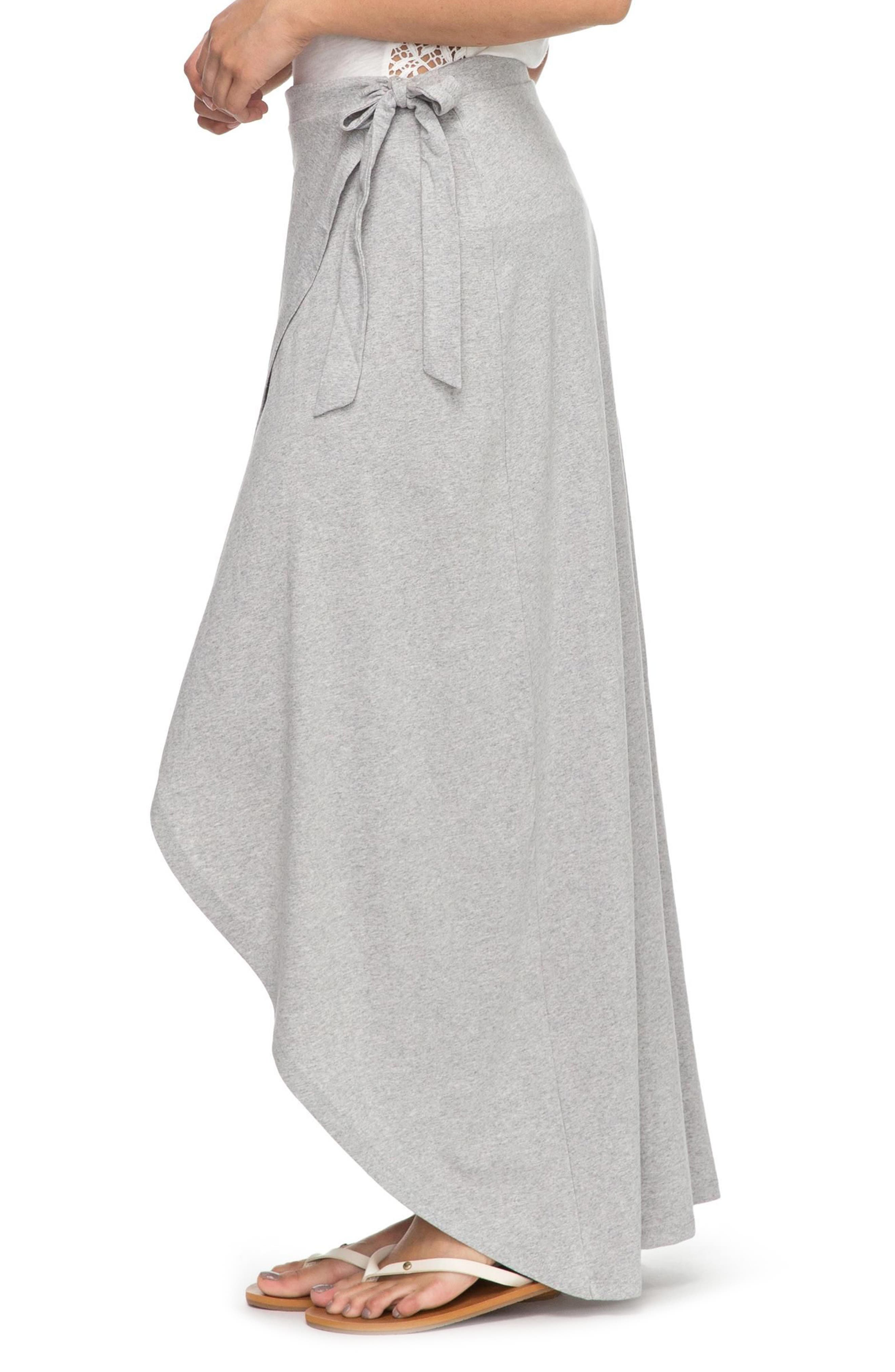 Everlasting Afternoon Long Wrap Skirt,                             Alternate thumbnail 4, color,                             Heritage Heather