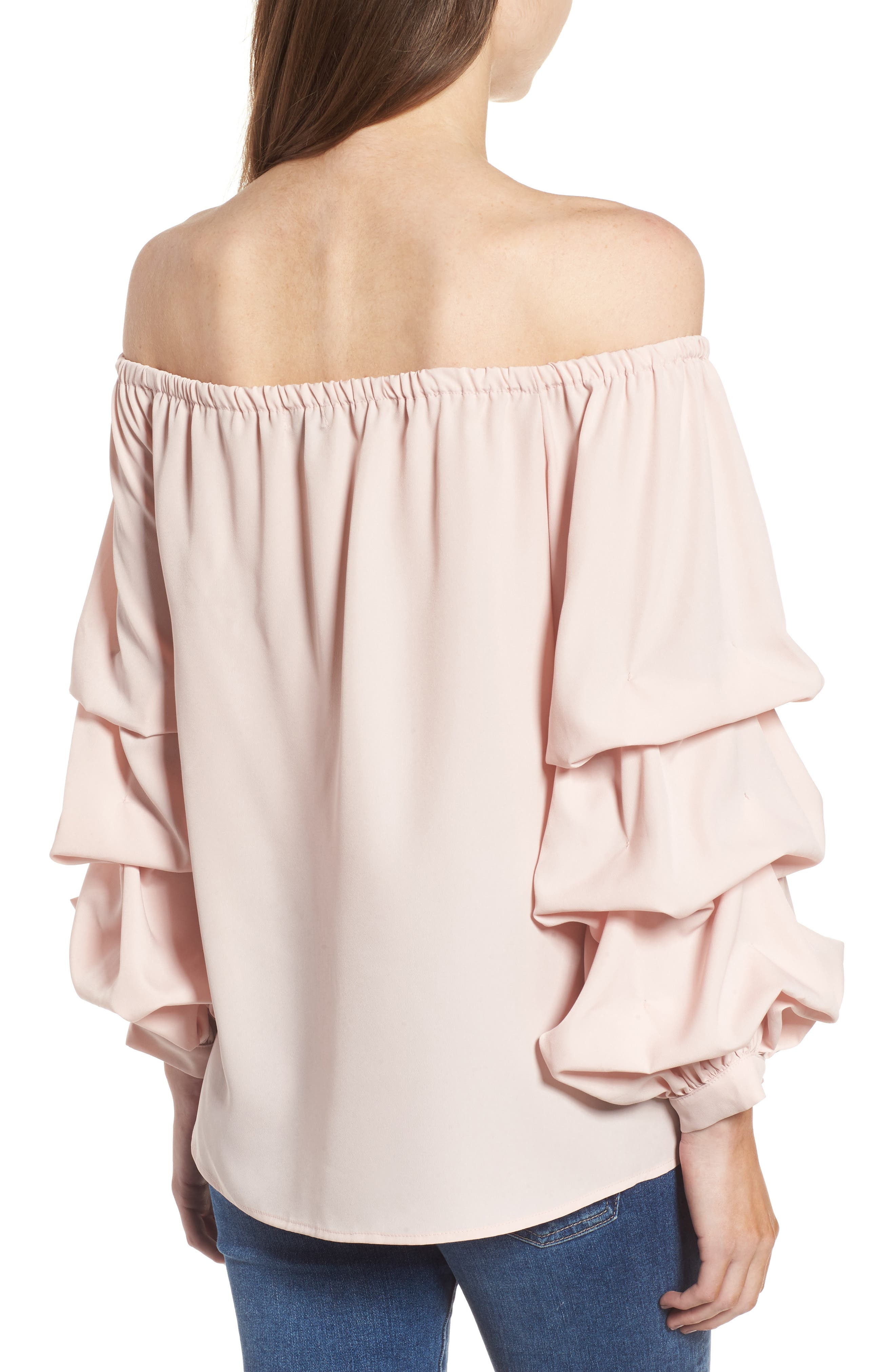 Off the Shoulder Top,                             Alternate thumbnail 2, color,                             Pink Peach