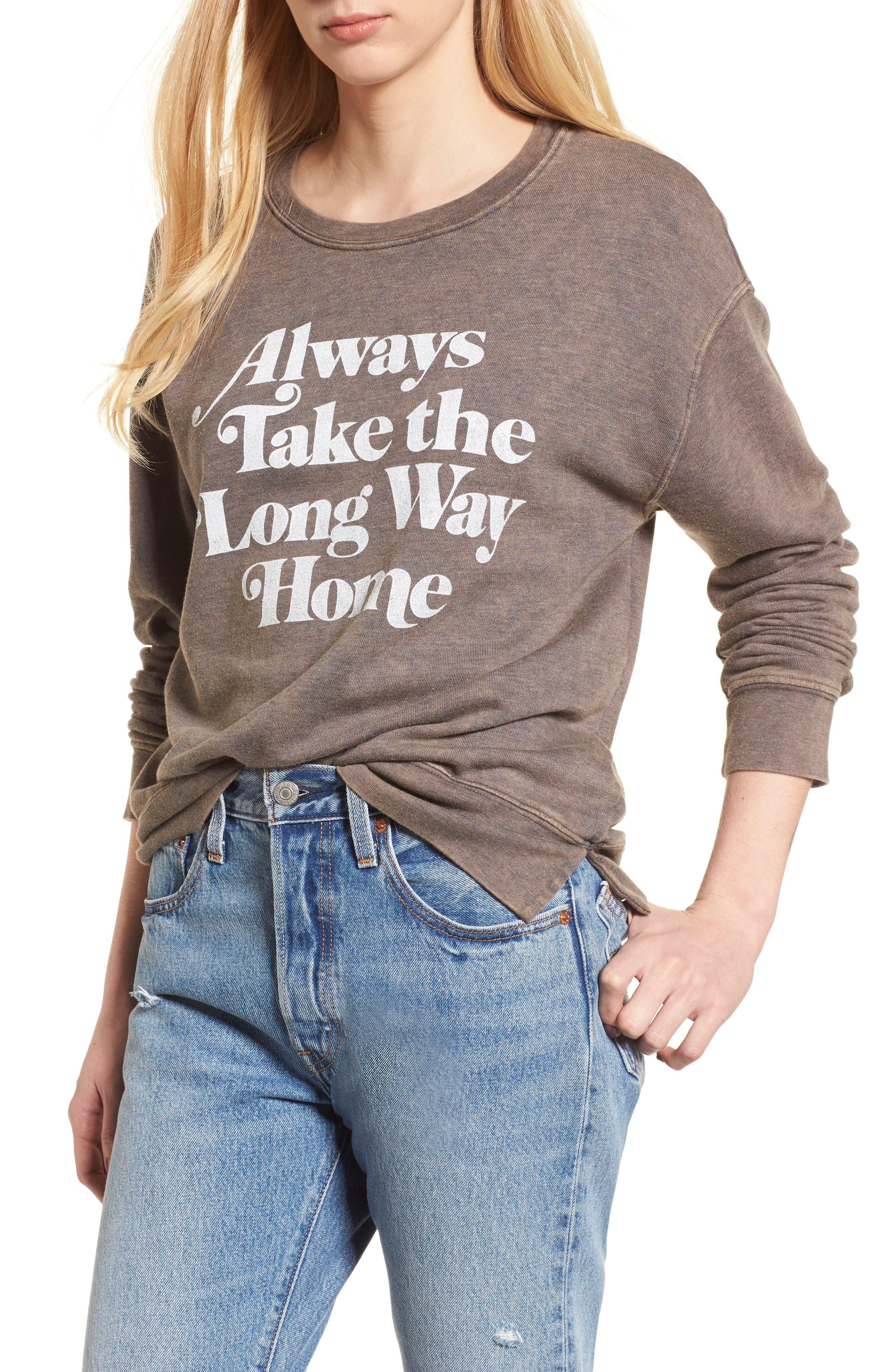 Always Take the Long Way Home Sweatshirt,                             Main thumbnail 1, color,                             Vintage Black